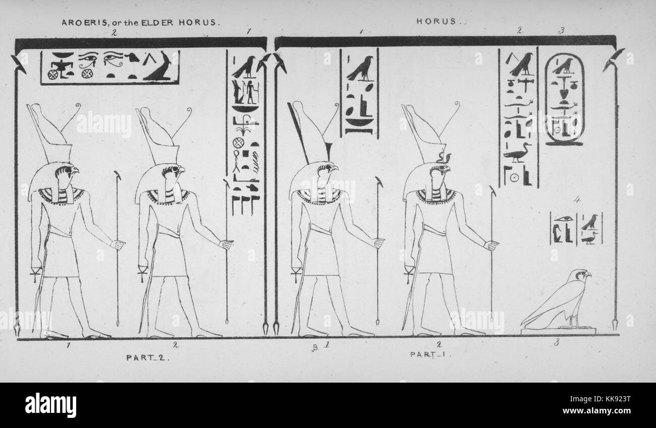 An illustration depicting Aroeris and Horus, Aroeris is known as Horus the Elder and as a part of Horus, Horus was - Stock Image