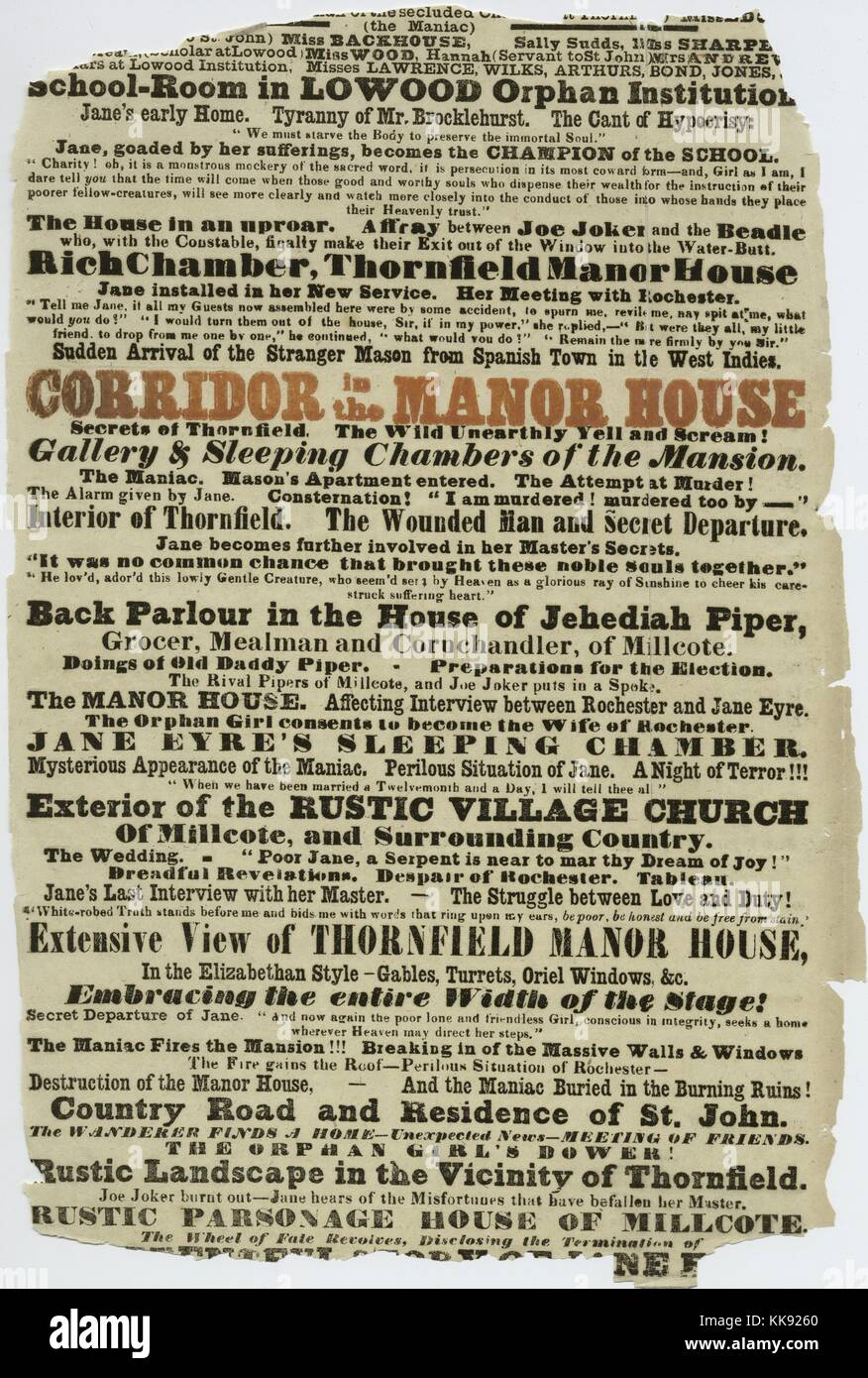 A portion of a playbill for a production of Jane Eyre: The Secrets of Thornfield Manor at the Victoria Theatre, - Stock Image