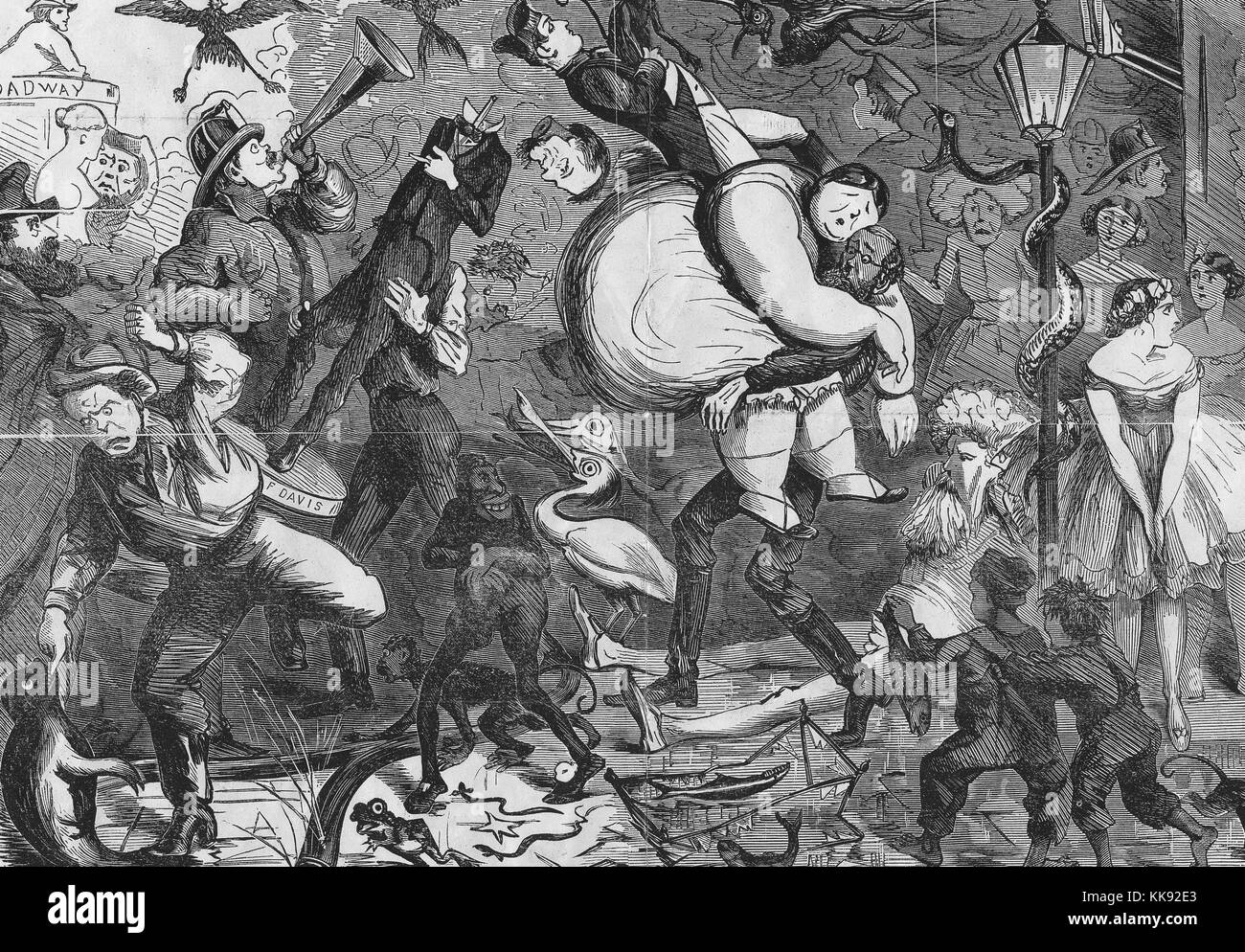Illustration depicting a number of curiosities from the Barnum Museum fleeing out of the building during the fire - Stock Image