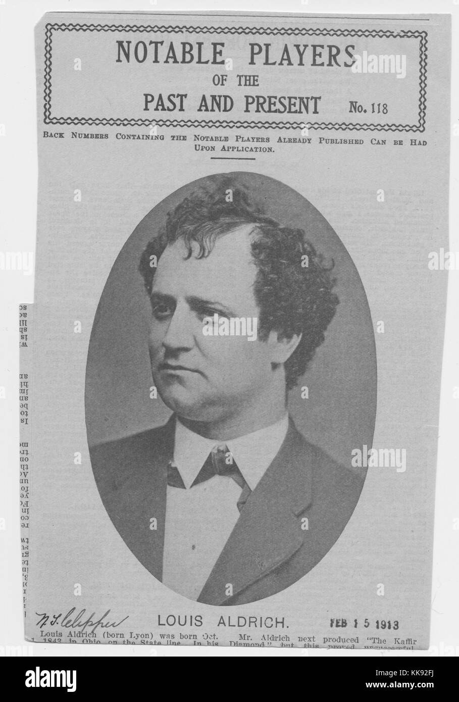 News clipping titled 'Notable Players of the Past and Present, No 118', depicting the portrait of Louis - Stock Image