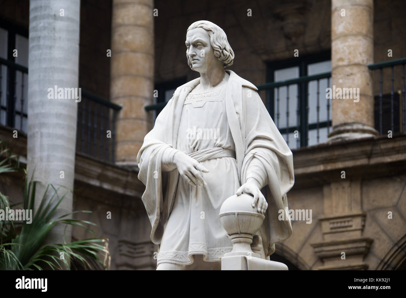 Statue of Christopher Columbus, Museum of the City Museo de la Ciudad, Havana, Cuba - Stock Image