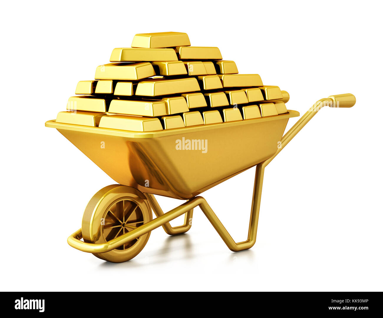 Wheelbarrow full of gold isolated on white background. 3D illustration. - Stock Image