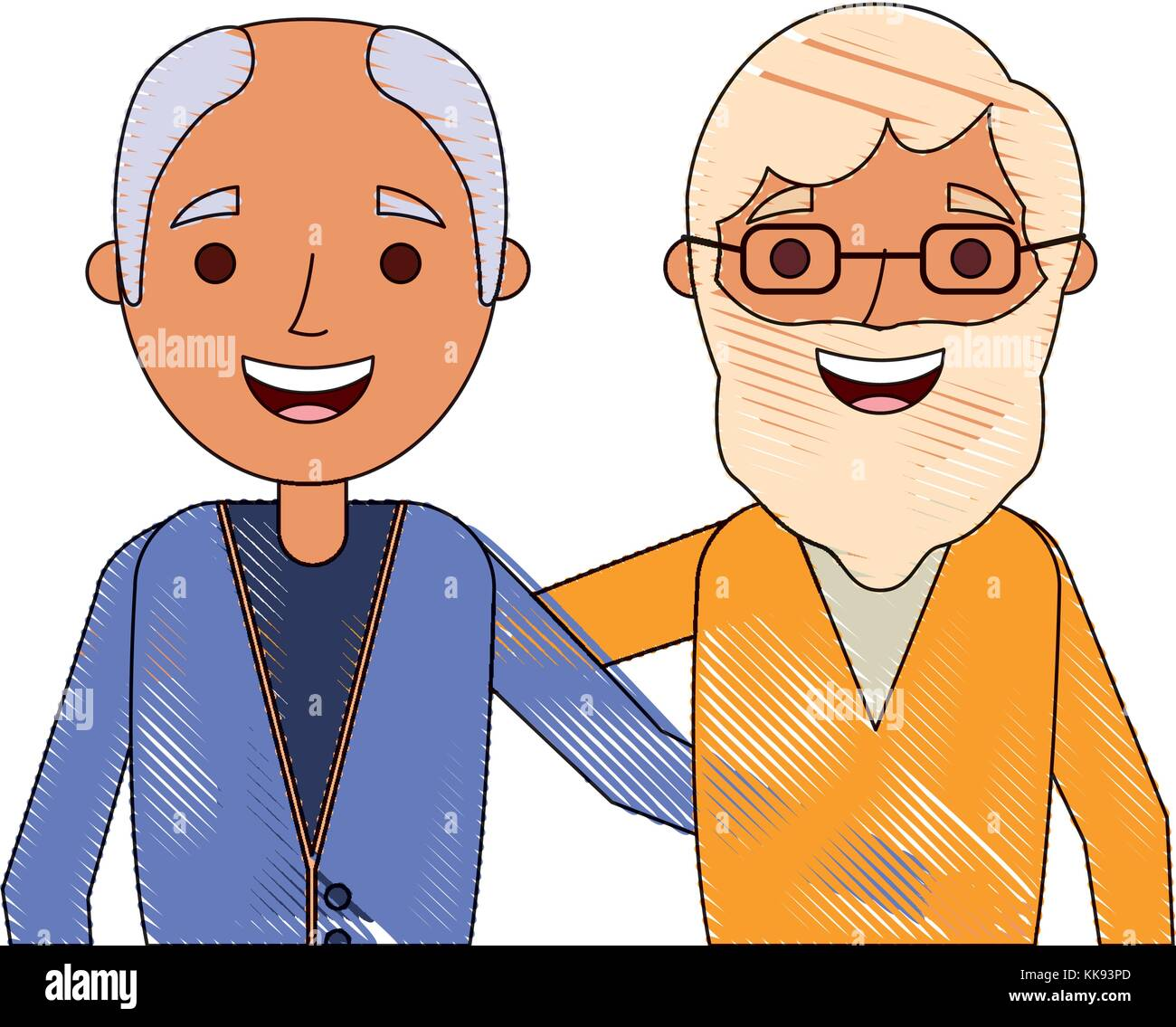 cartoon of two old men embraced friends together stock vector art