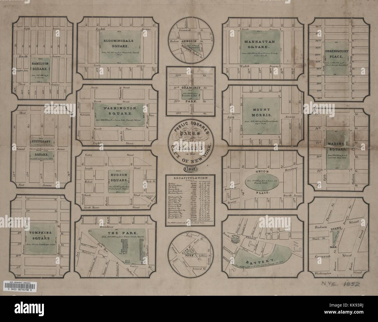 Engraved map image from an atlas, with original caption reading 'Public squares, parks, and places in the City - Stock Image