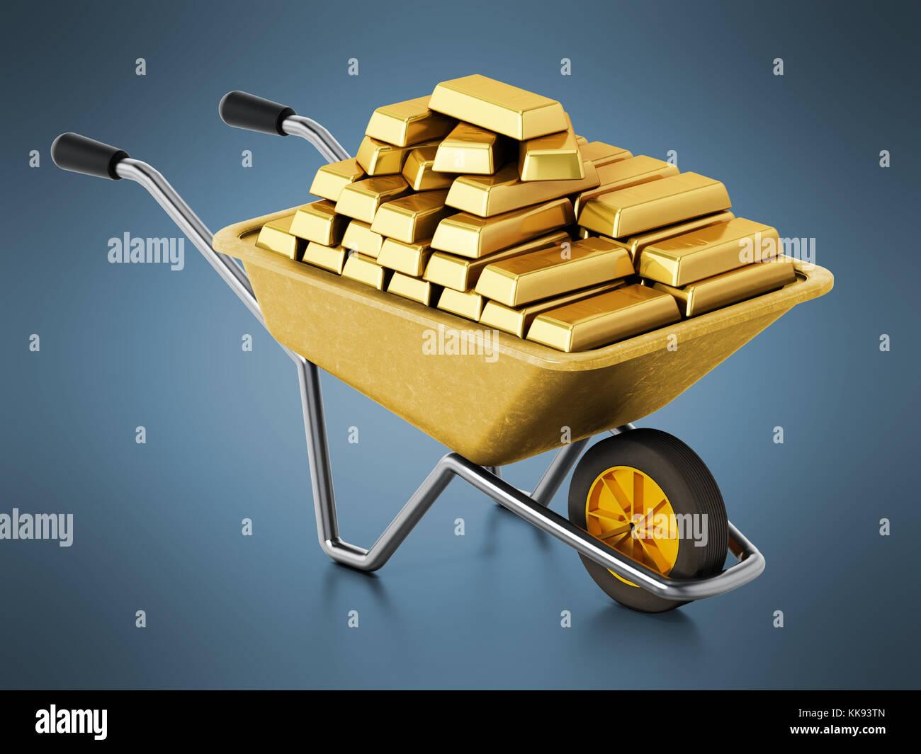 Wheelbarrow full of gold on blue background. 3D illustration. - Stock Image