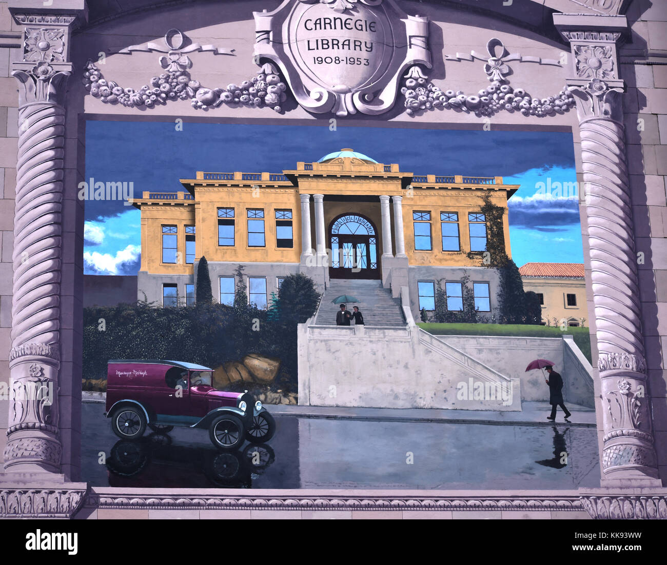 Old historical mural on the Montaque-McHugh building in downtown Bellingham, Washington.  The building is on the Stock Photo