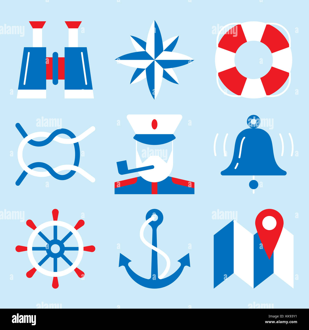 Nautical icon set with marine elements of navigation, captain, accessories of navy and ships. Flat design of sea - Stock Image