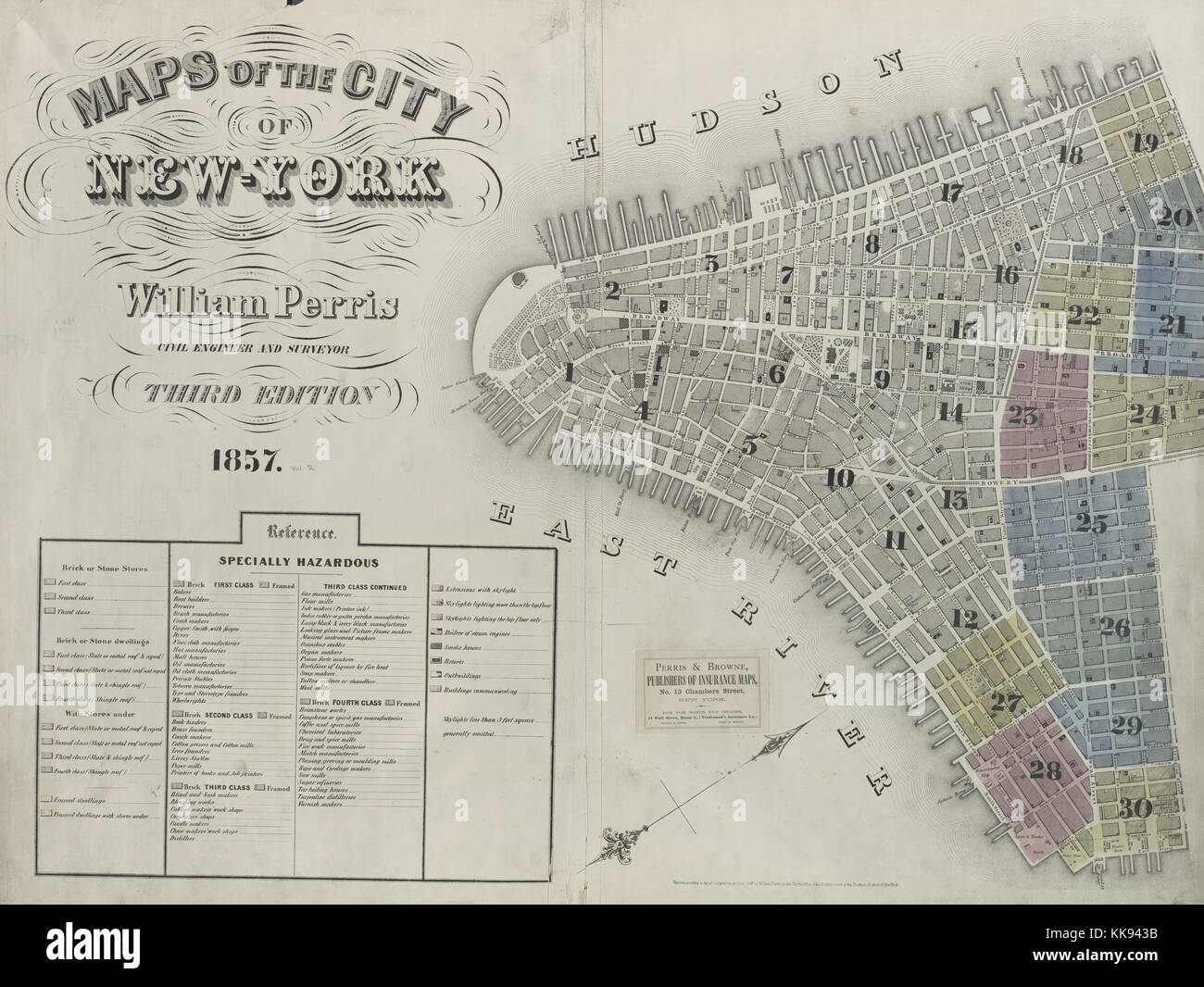 Engraved map image from an atlas, with original caption reading 'Volume 2 Index Map', New York City, New - Stock Image