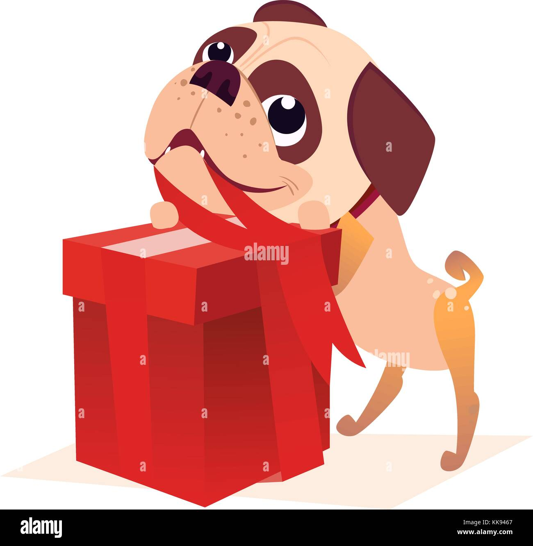 Cartoon Dog Vector Illustration Of Christmas Puppy Character Design Stock Vector Image Art Alamy