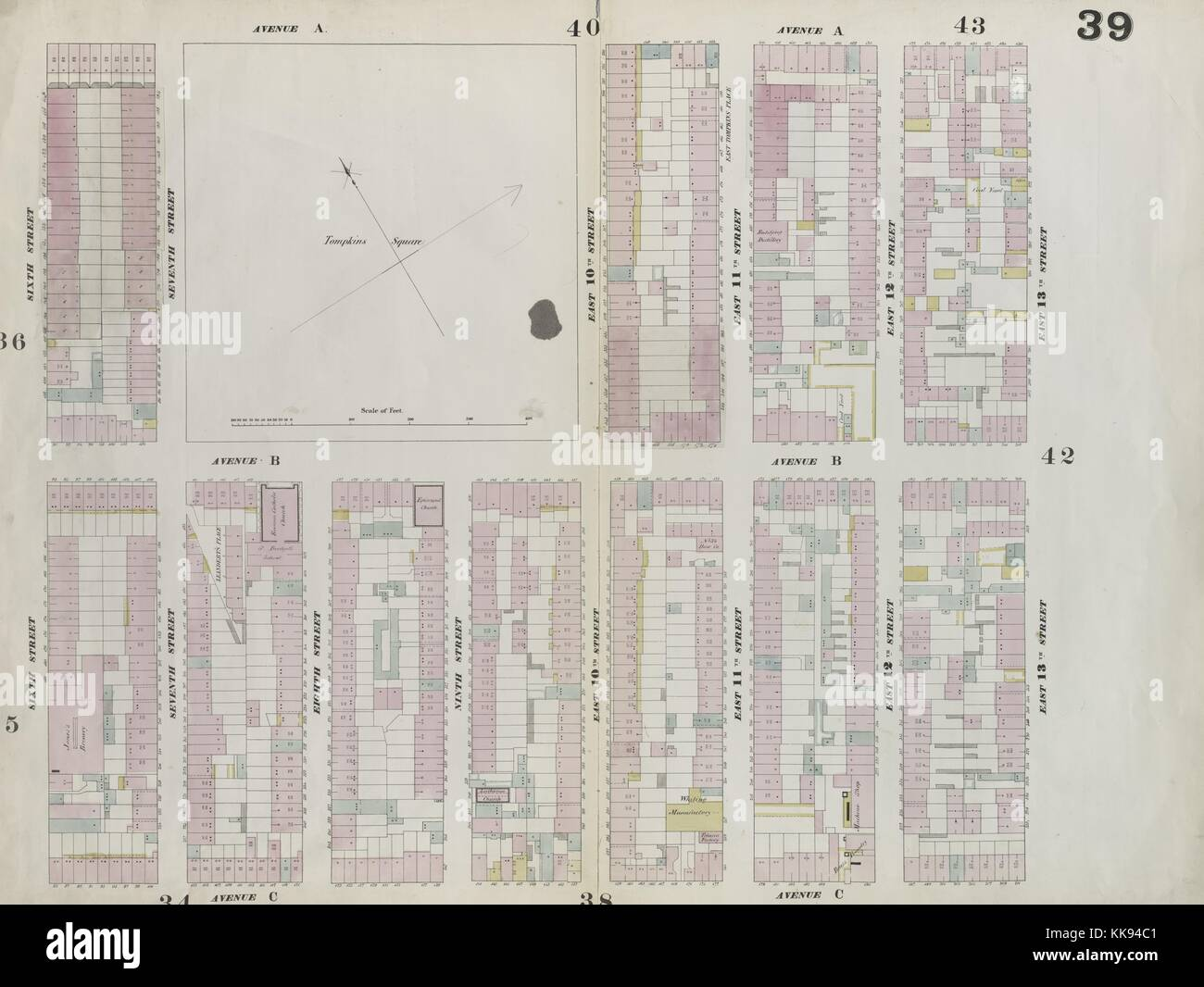 Engraved map image from an atlas, with original caption reading 'Plate 39: Map bounded by East 13th Street, - Stock Image