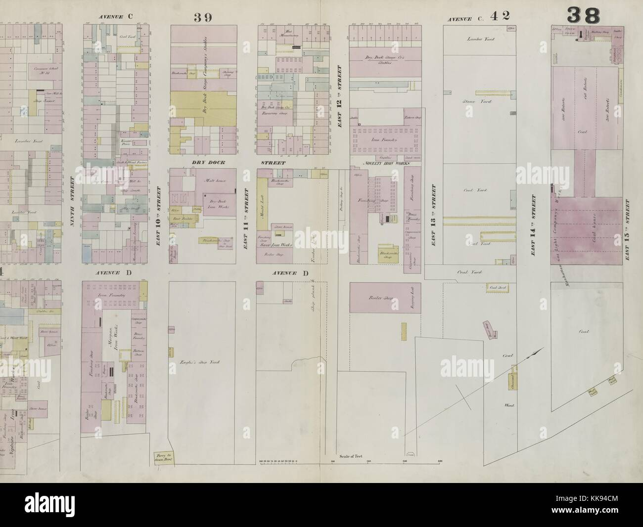 Engraved map image from an atlas, with original caption reading 'Plate 38: Map bounded by East 15th Street, - Stock Image