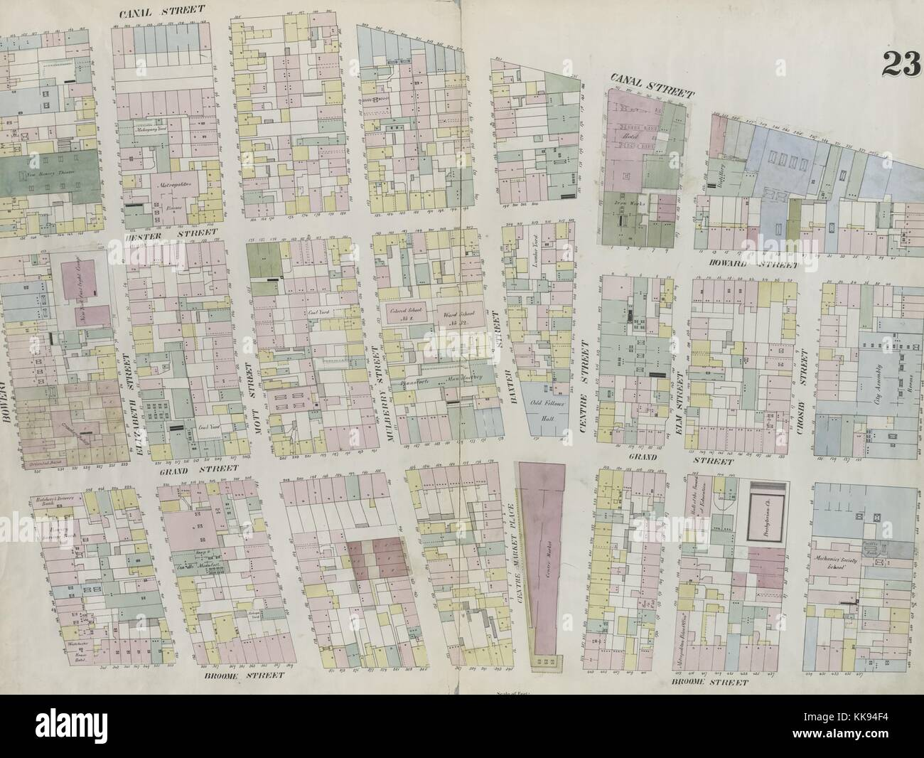 Engraved map image from an atlas, with original caption reading 'Plate 23: Map bounded by Broome Street, Bowery, - Stock Image