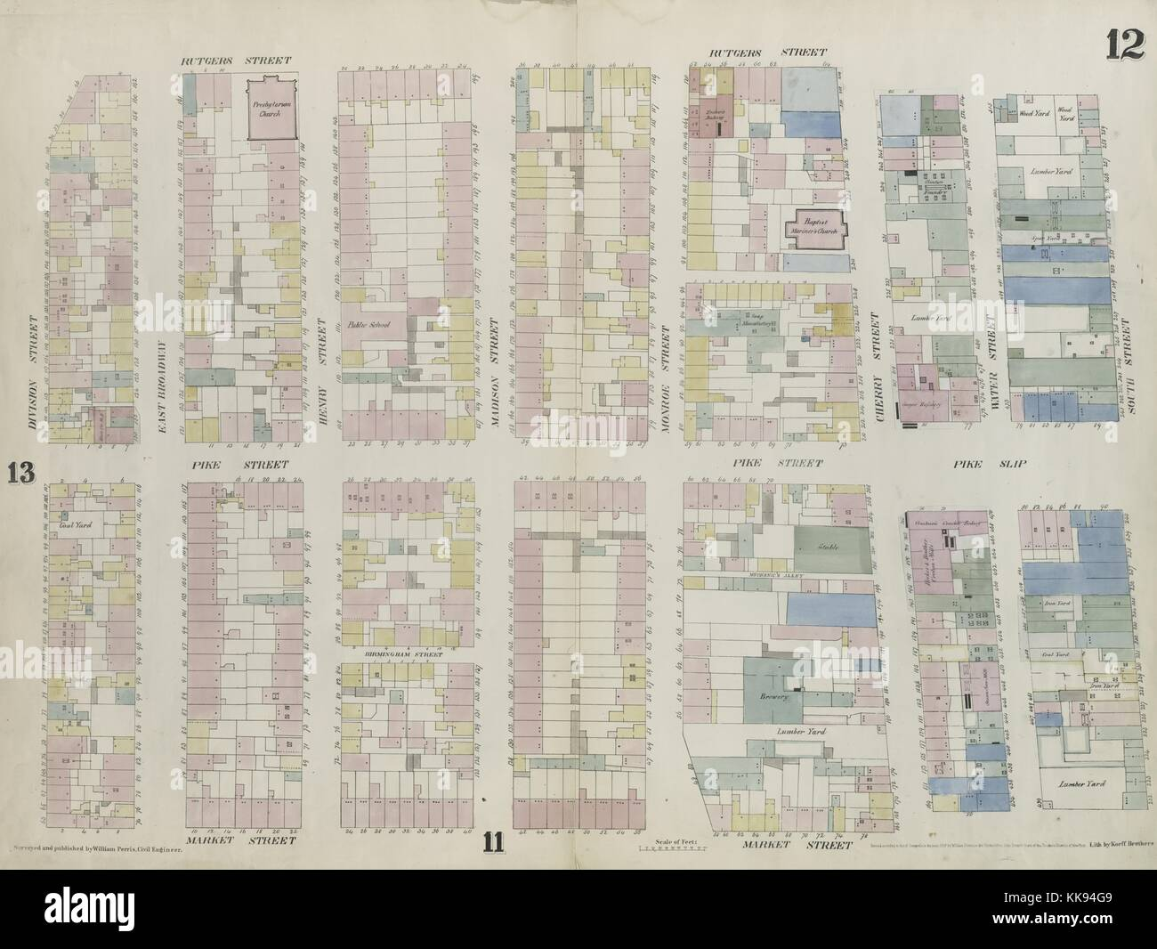 Engraved map image from an atlas, with original caption reading 'Plate 12: Map bounded by Division Street, Rutgers - Stock Image