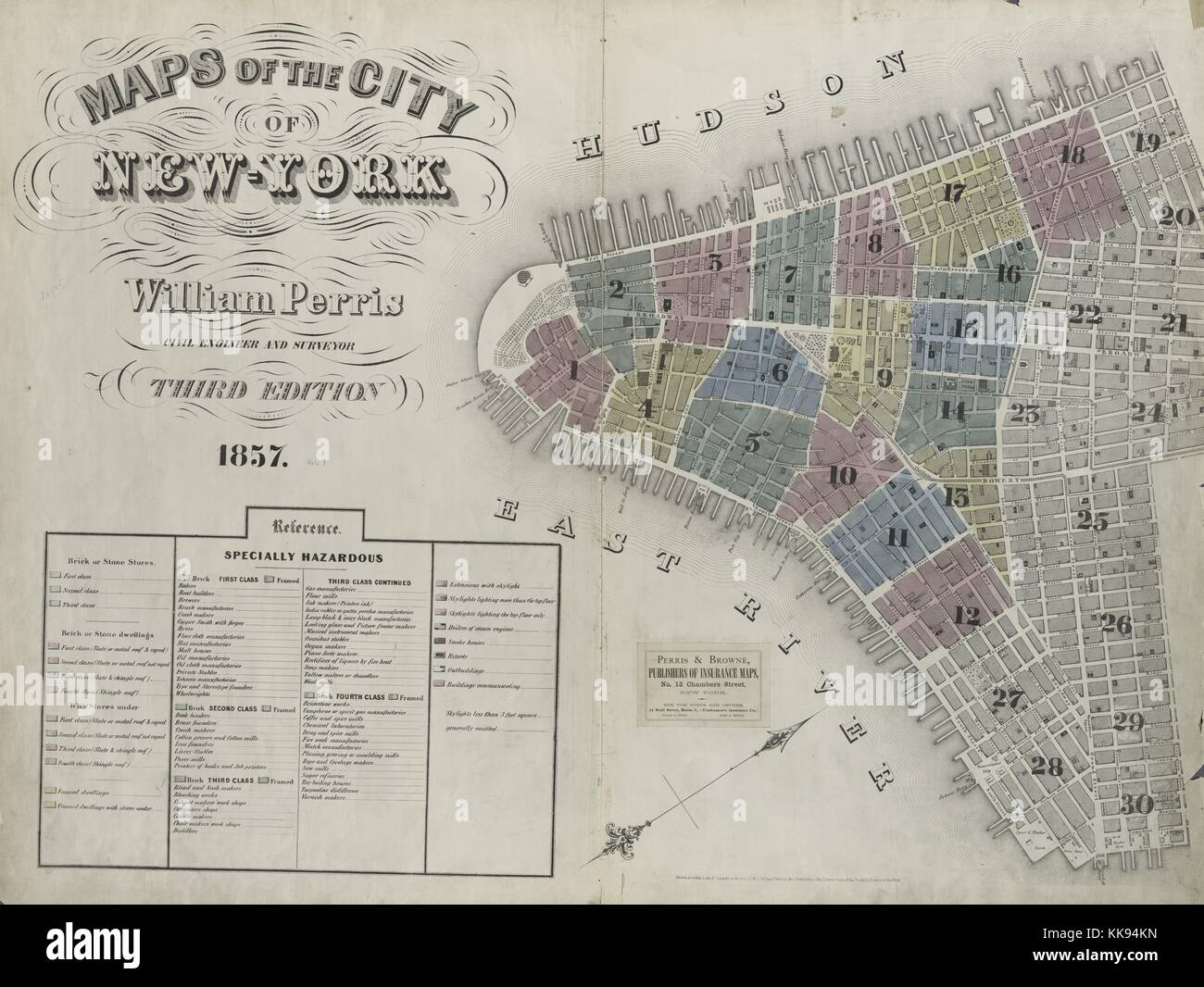 Engraved map image from an atlas, with original caption reading 'Volume 1 Index Map', New York City, New - Stock Image
