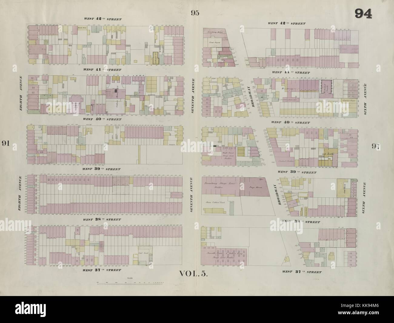 Engraved map image from an atlas, with original caption reading 'Plate 94: Map bounded by West 42nd Street, - Stock Image
