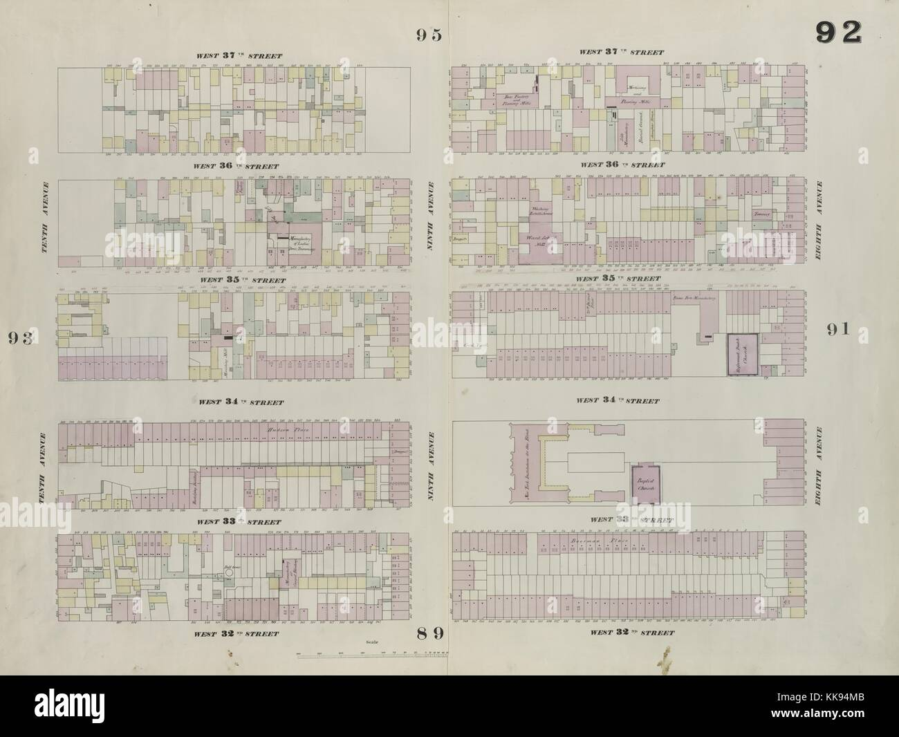 Engraved map image from an atlas, with original caption reading 'Plate 92: Map bounded by West 37th Street, - Stock Image