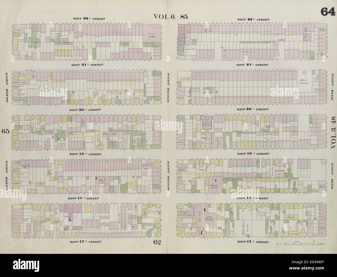 Engraved map image from an atlas, with original caption reading 'Plate 64: Map bounded by West 22nd Street, - Stock Image