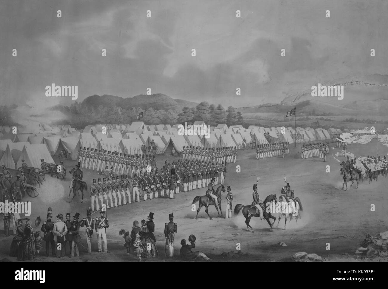 Hand colored lithograph depicting the National Guard 7th Regiment New York State Militia at Camp Worth (Kingston, - Stock Image
