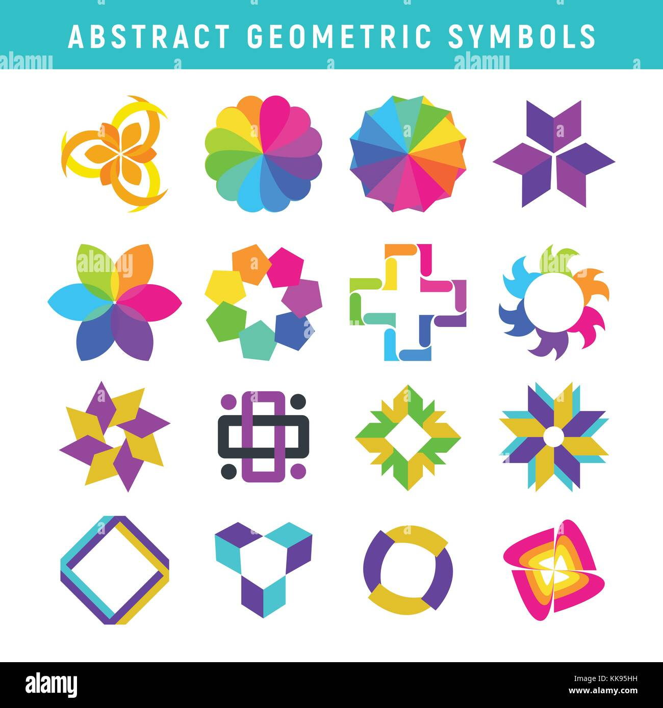 Abstract Geometric Symbols Vector Graphic Illustration Design - Stock Vector