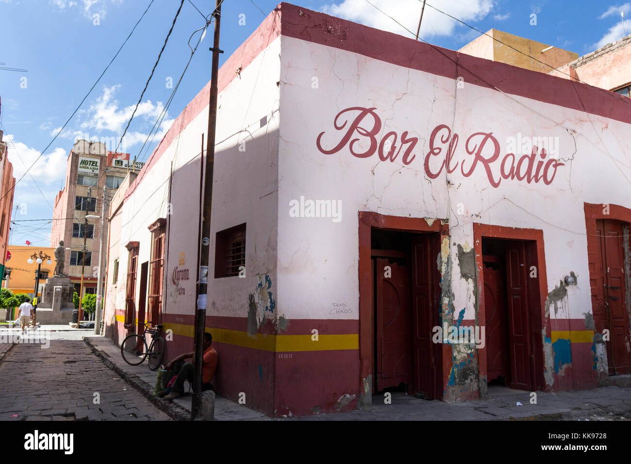 The downtown in a summer day. San Luis Potosí, San Luis Potosí. Mexico, At Bar el Radio, typical Mexican - Stock Image