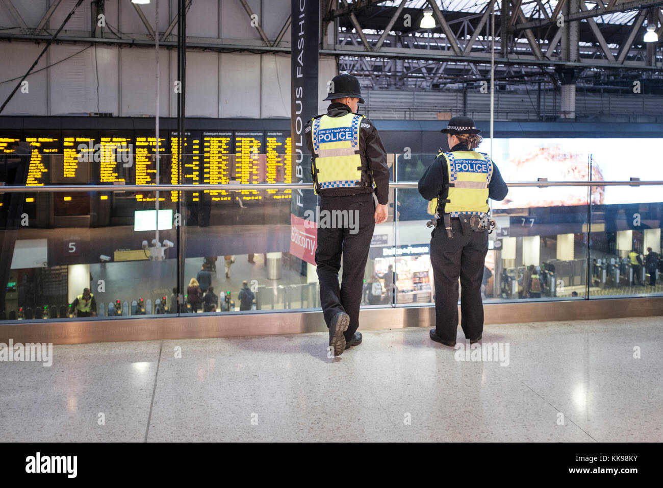 British Transport police officers on the beat,Waterloo Station,London Stock Photo