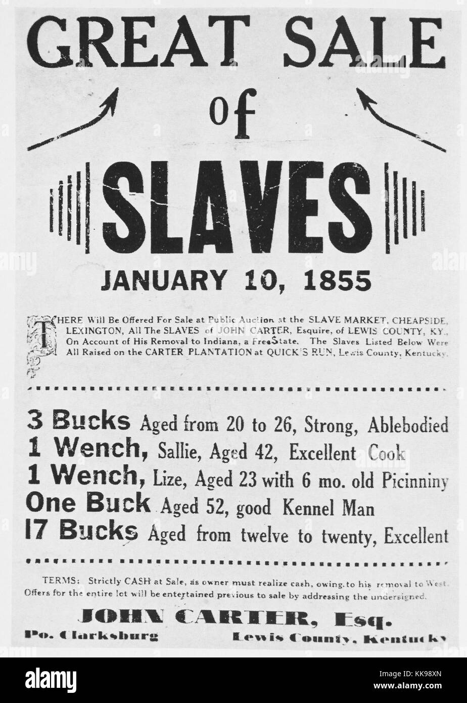 A poster advertising a slave sale, John Carter was the name of the slave owner and he was posting them for sale - Stock Image
