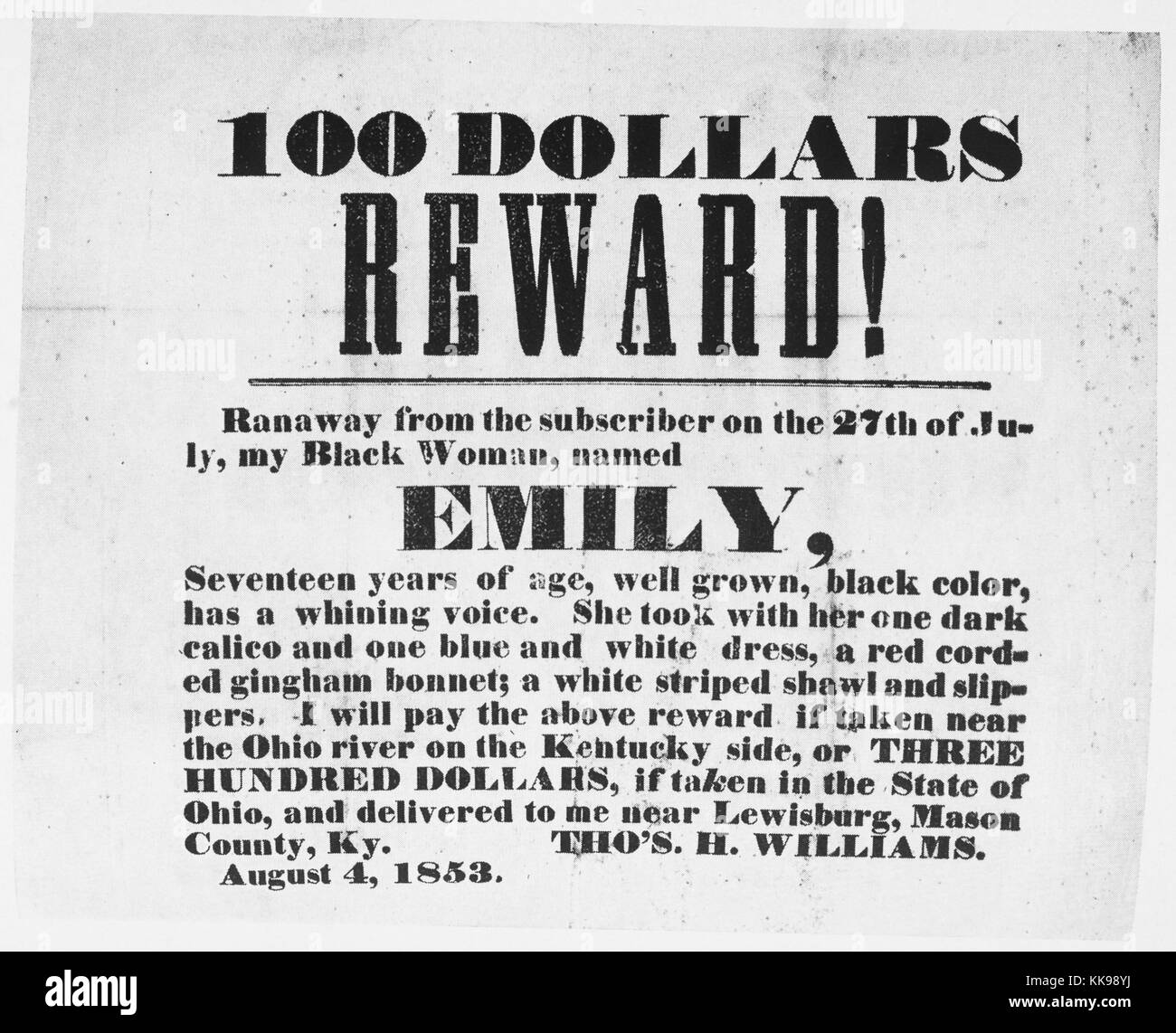 A poster advertising a reward for a runaway slave named Emily, the slave owner lists a physical description of Emily - Stock Image