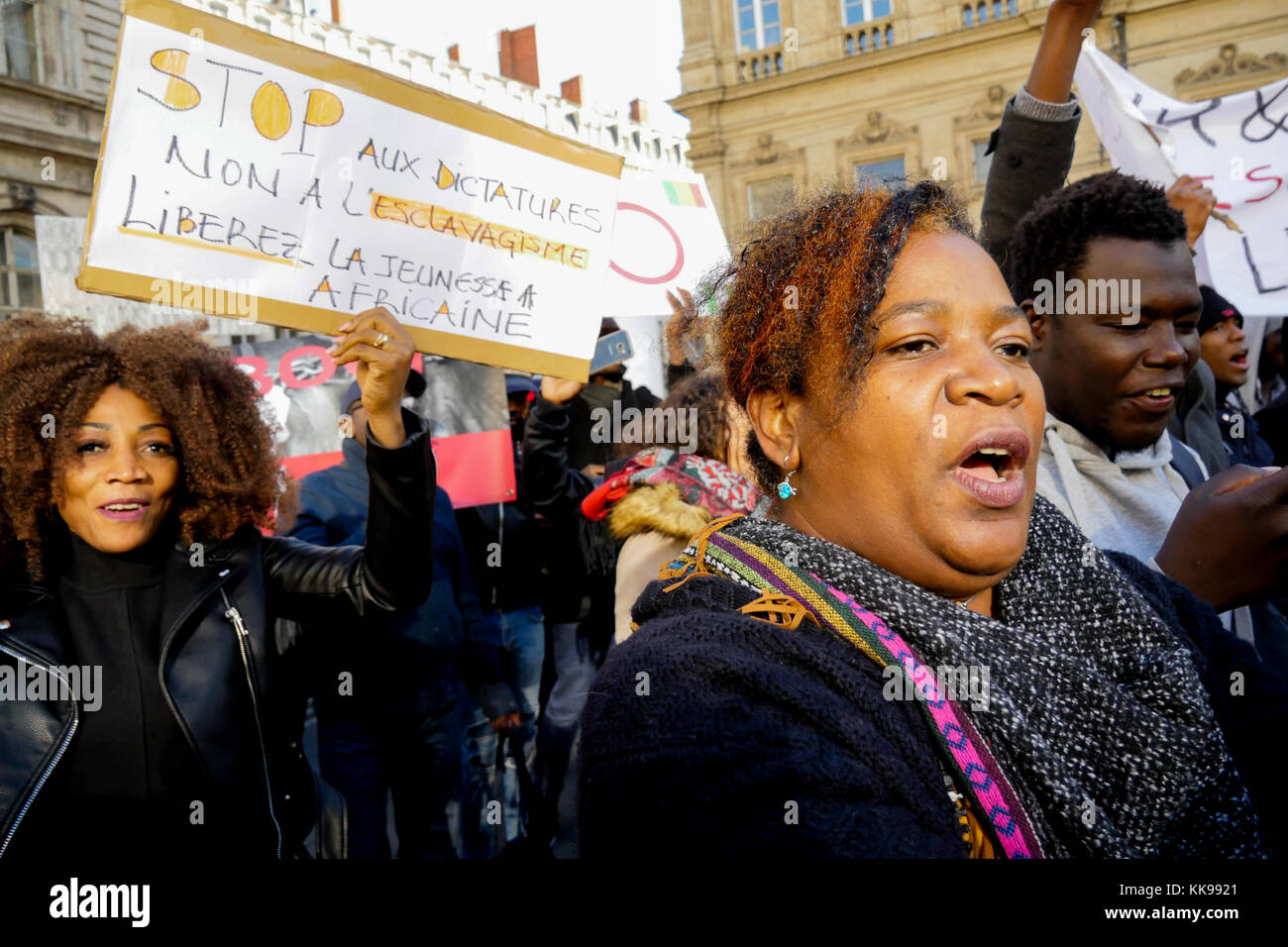 African diaspora protest against slavery rebirth in Lybia, Lyon, France - Stock Image