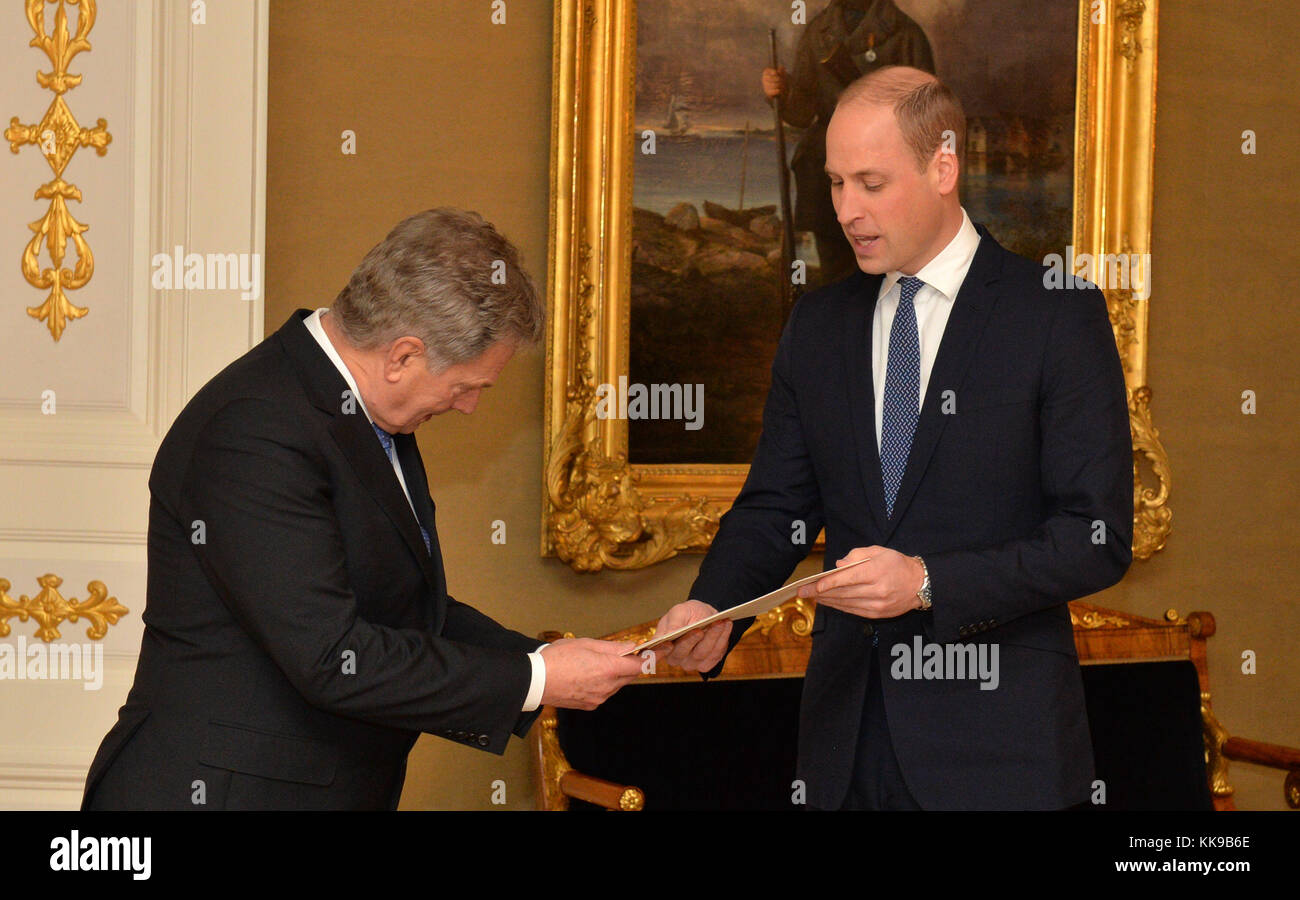 The Duke of Cambridge meeting the President of Finland Sauli Niinisto at the Presidential Palace in Helsinki, Finland, - Stock Image