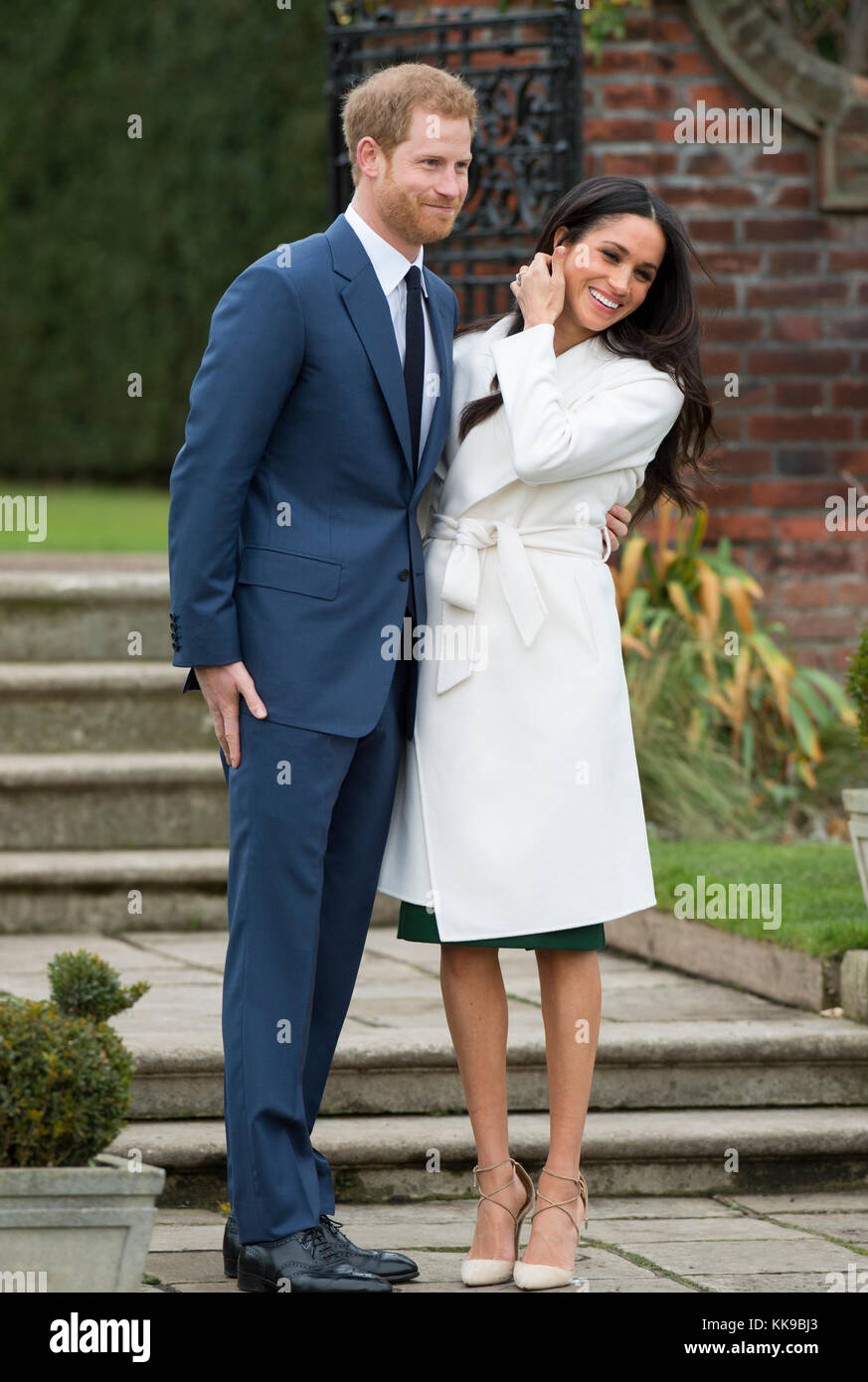 Kensington Palace announce the engagement of Prince Harry Wales to U.S. Actress Meghan Markle in the water garden - Stock Image