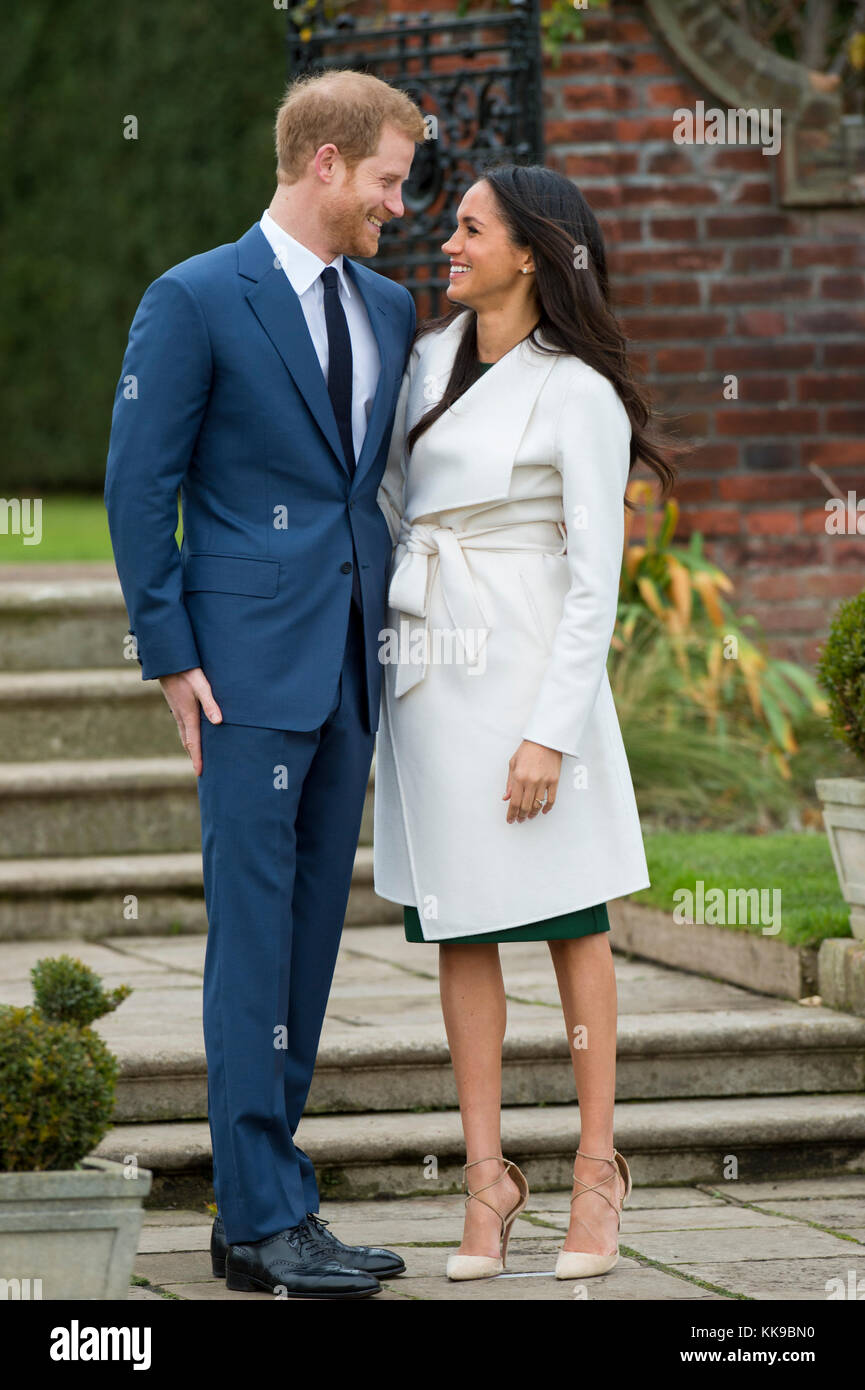 Kensington Palace announce the engagement of Prince Harry Wales to U.S. Actress Meghan Markle in the water garden Stock Photo