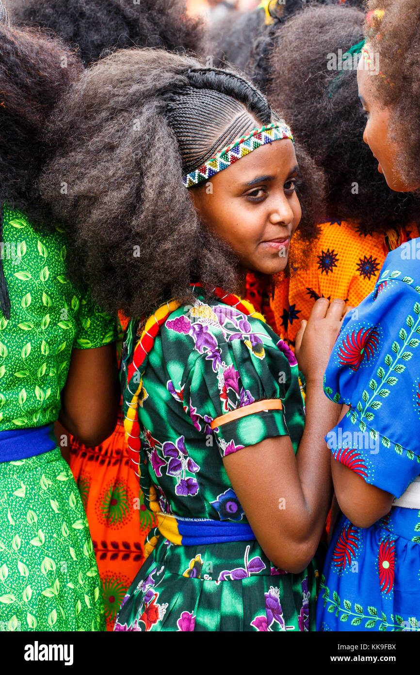 Girl with traditional braided hair and clothes at the Ashenda Festival, Mekele, Ethiopia. - Stock Image