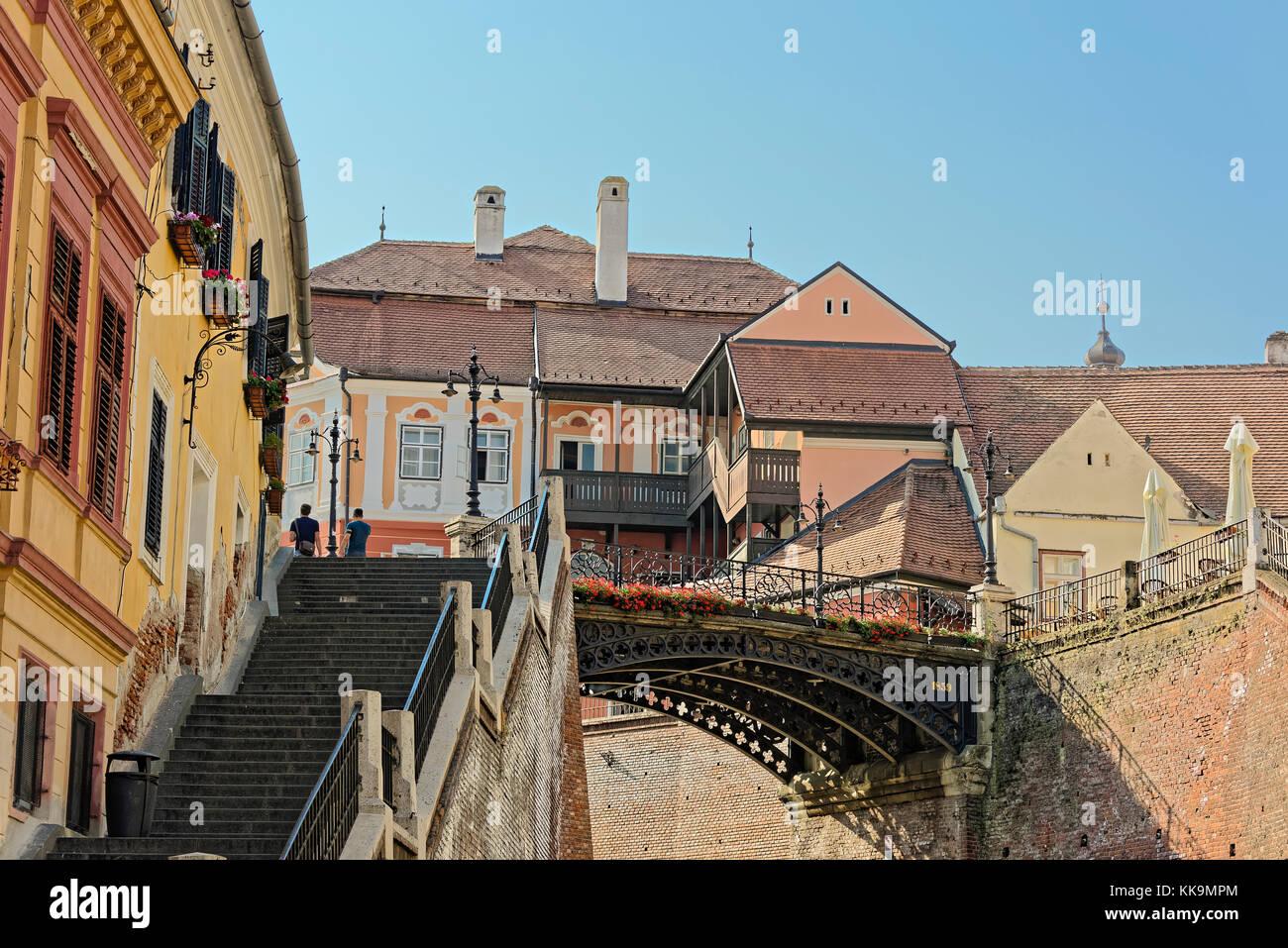 Old Town Sibiu Romania Liars Bridge - Stock Image