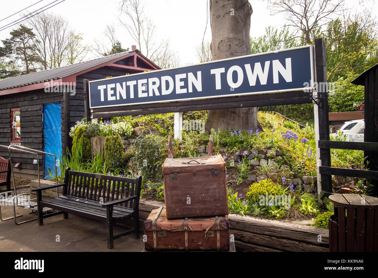 Tenterden Town railway station sign in Kent England UK - Stock Image