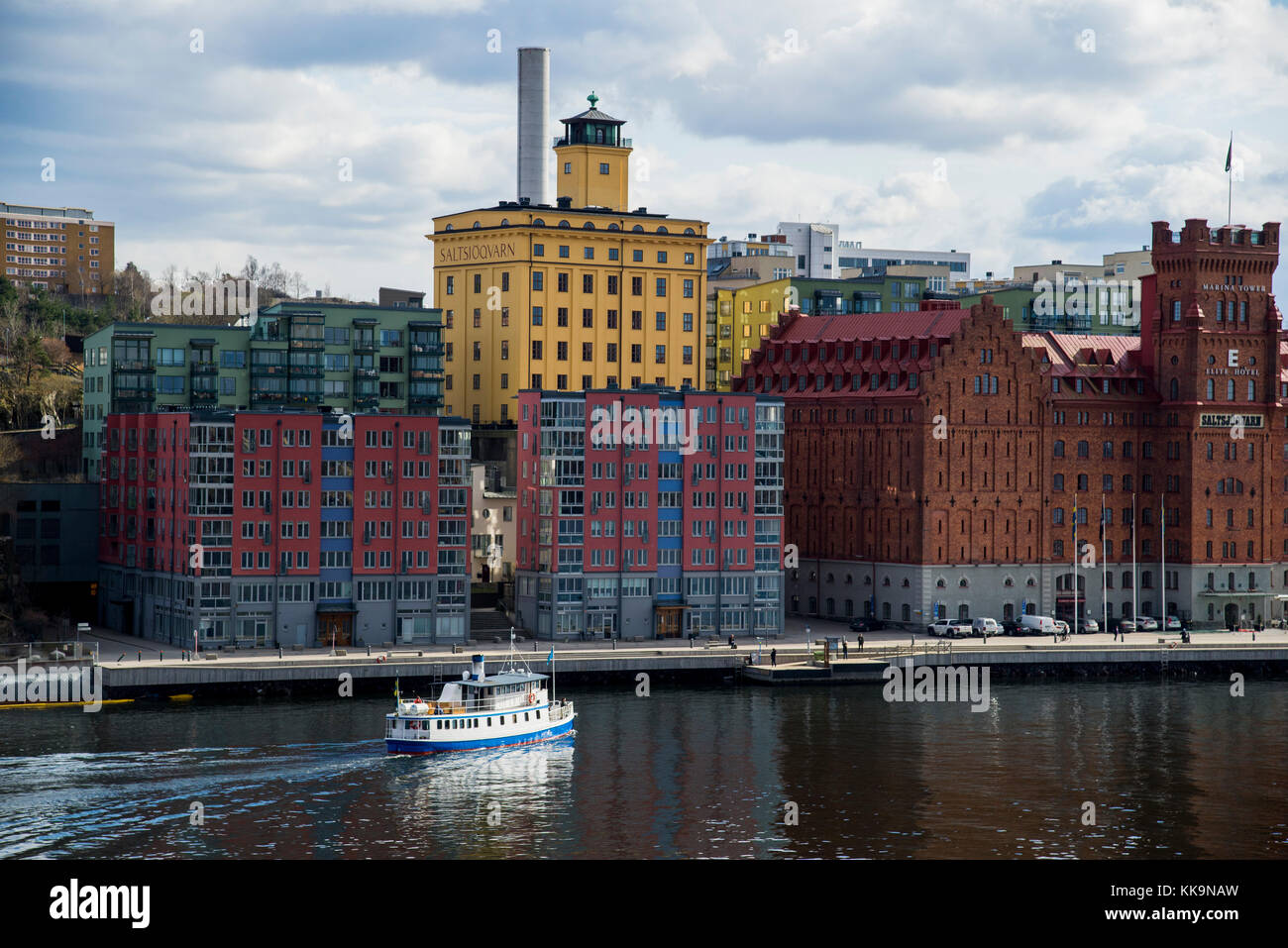 The new waterfront in Nacka just east of Stockholms hippest part Södermalm and the SoFo district. Also close to Stock Photo