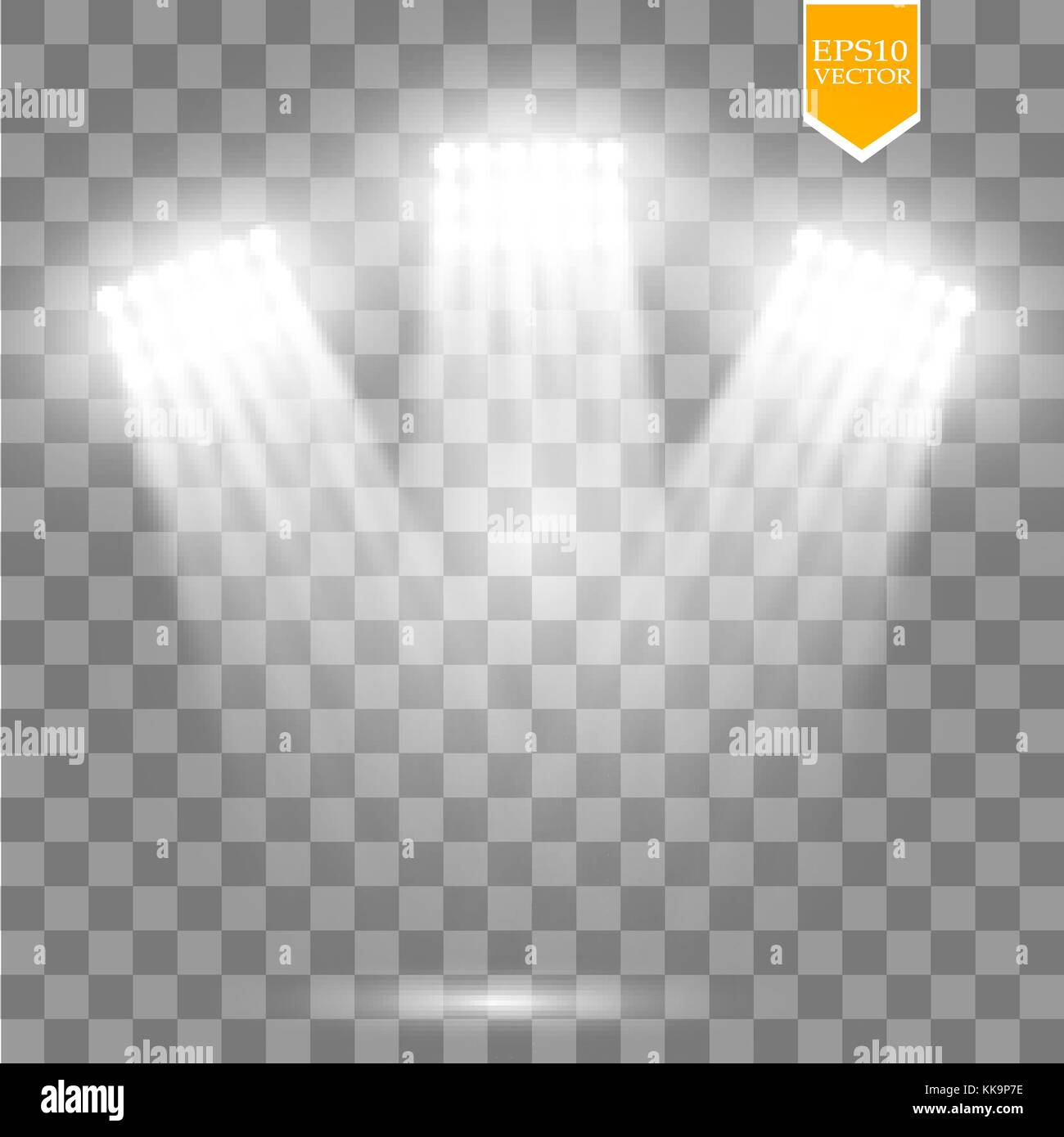 White vector spotlight light effect on transparent background. Concert scene with sparks illuminated by glow ray. - Stock Vector