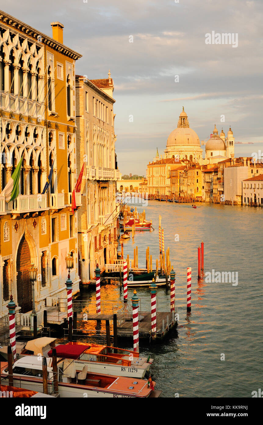 View of Grand Canal from Academia Bridge, Venice - Stock Image