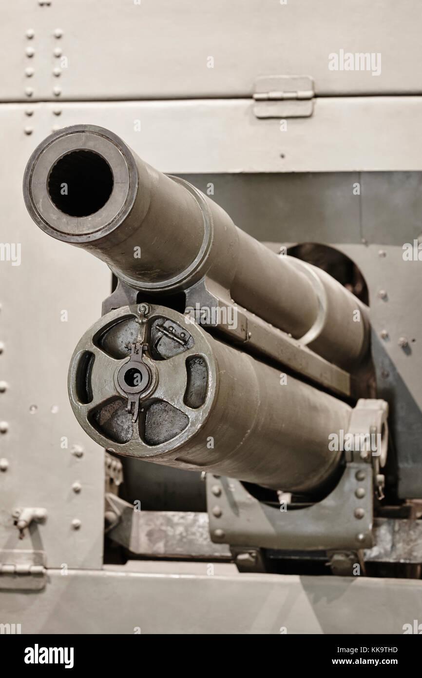 Second war world portable machine gun detail. Vertical - Stock Image