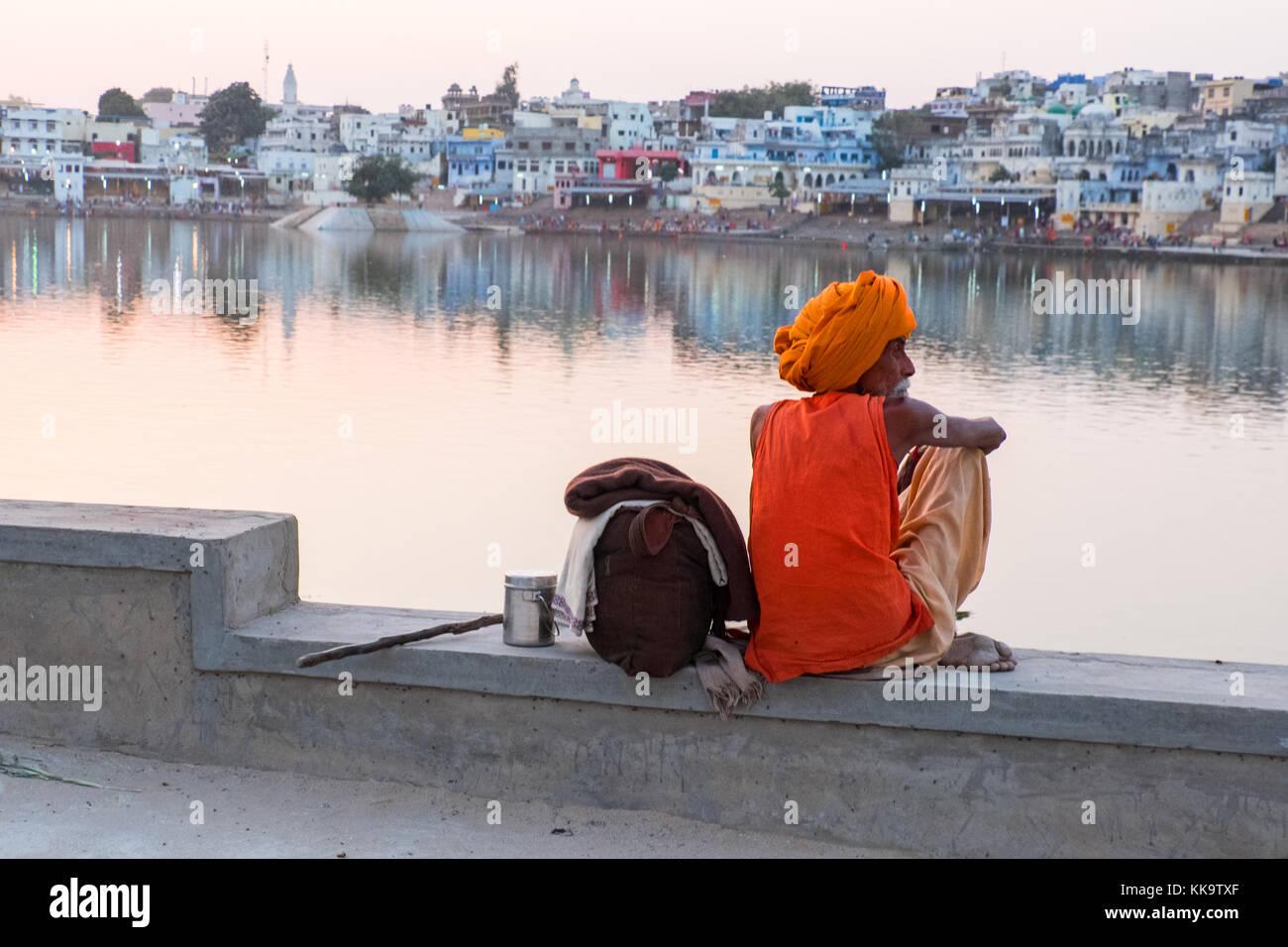 A Sadhu (holy man) at the sacred Pushkar Lake, Rajasthan,India - Stock Image