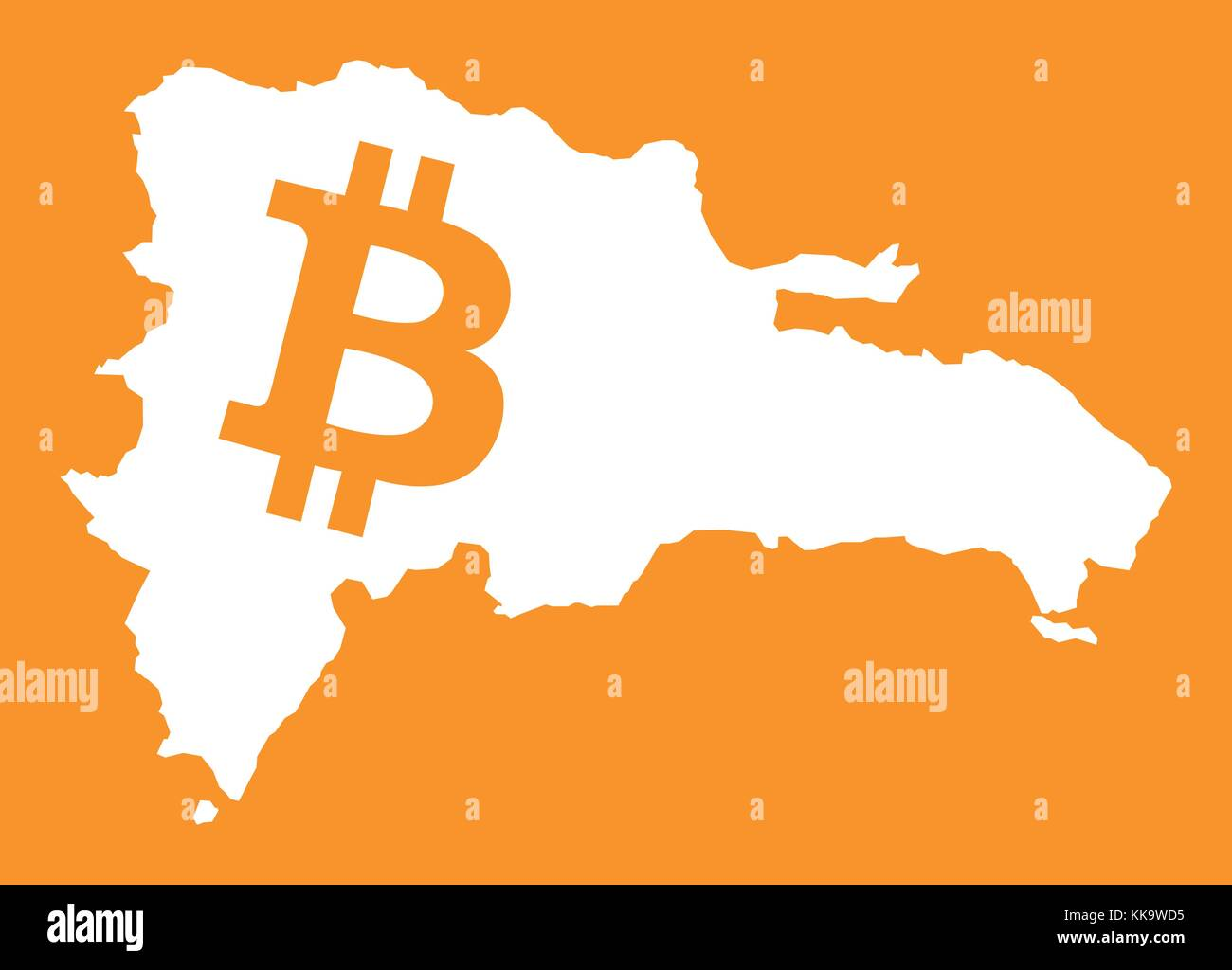 Dominican Republic Map With Bitcoin Crypto Currency Symbol Stock