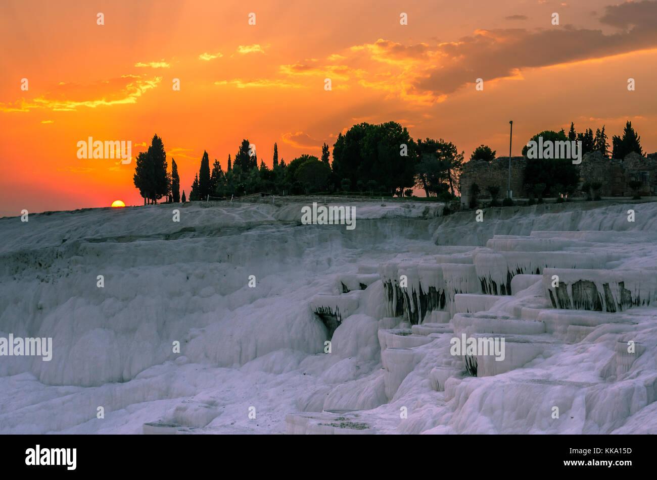Dramatic sunset over Pamukkale, Turkey - Stock Image