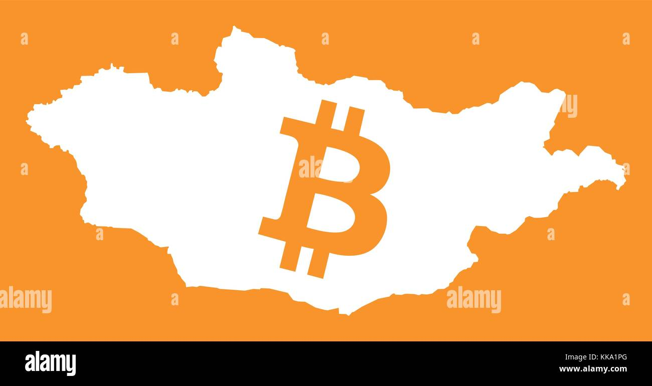 Mongolia map with bitcoin crypto currency symbol illustration - Stock Vector
