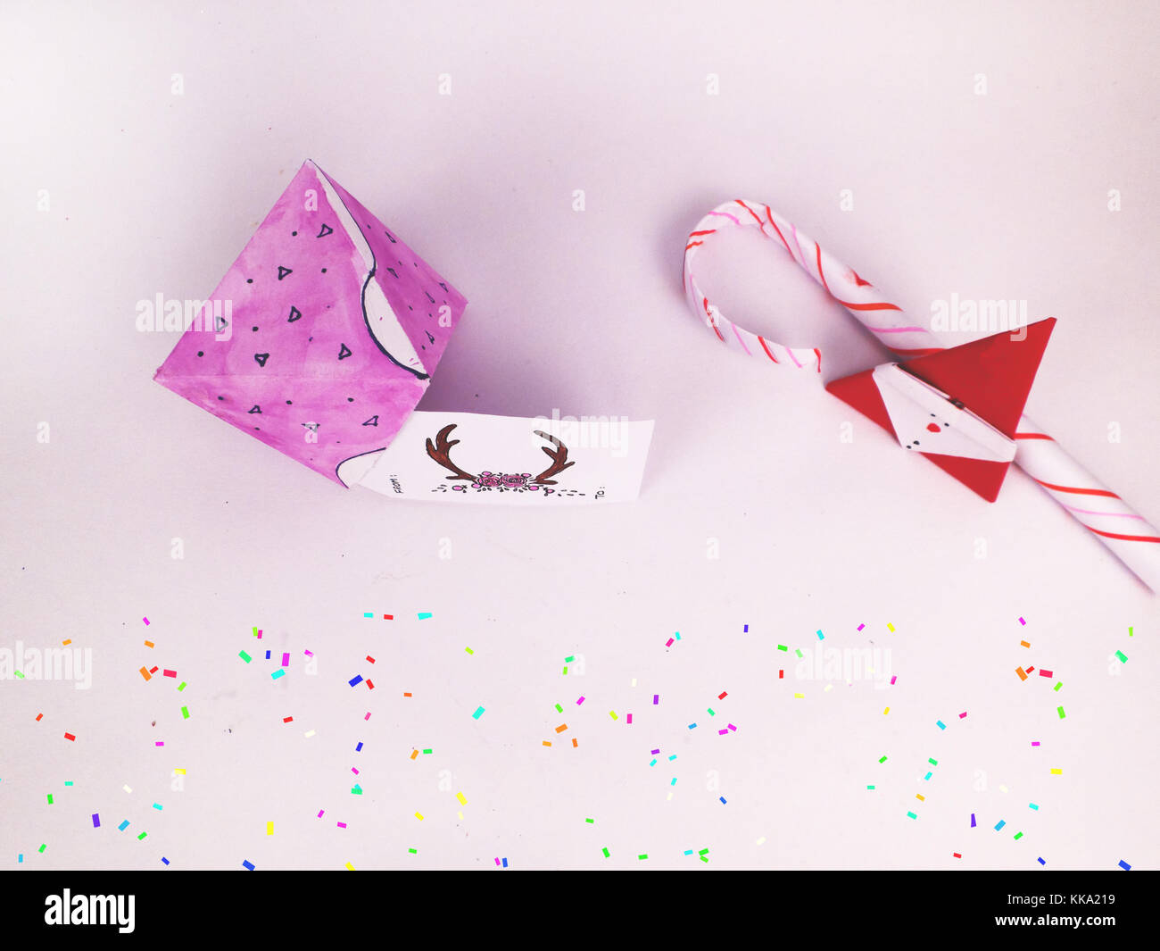 Christmas Decoration with diamond box and candy canes with confetti for holidays best background image for Holiday - Stock Image