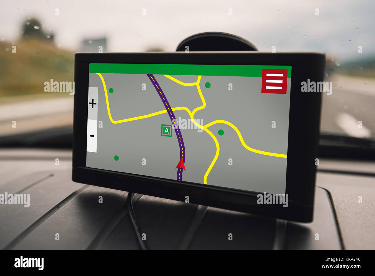 GPS (Global Positioning System) car navigation device, help and assistance with direction on road - Stock Image