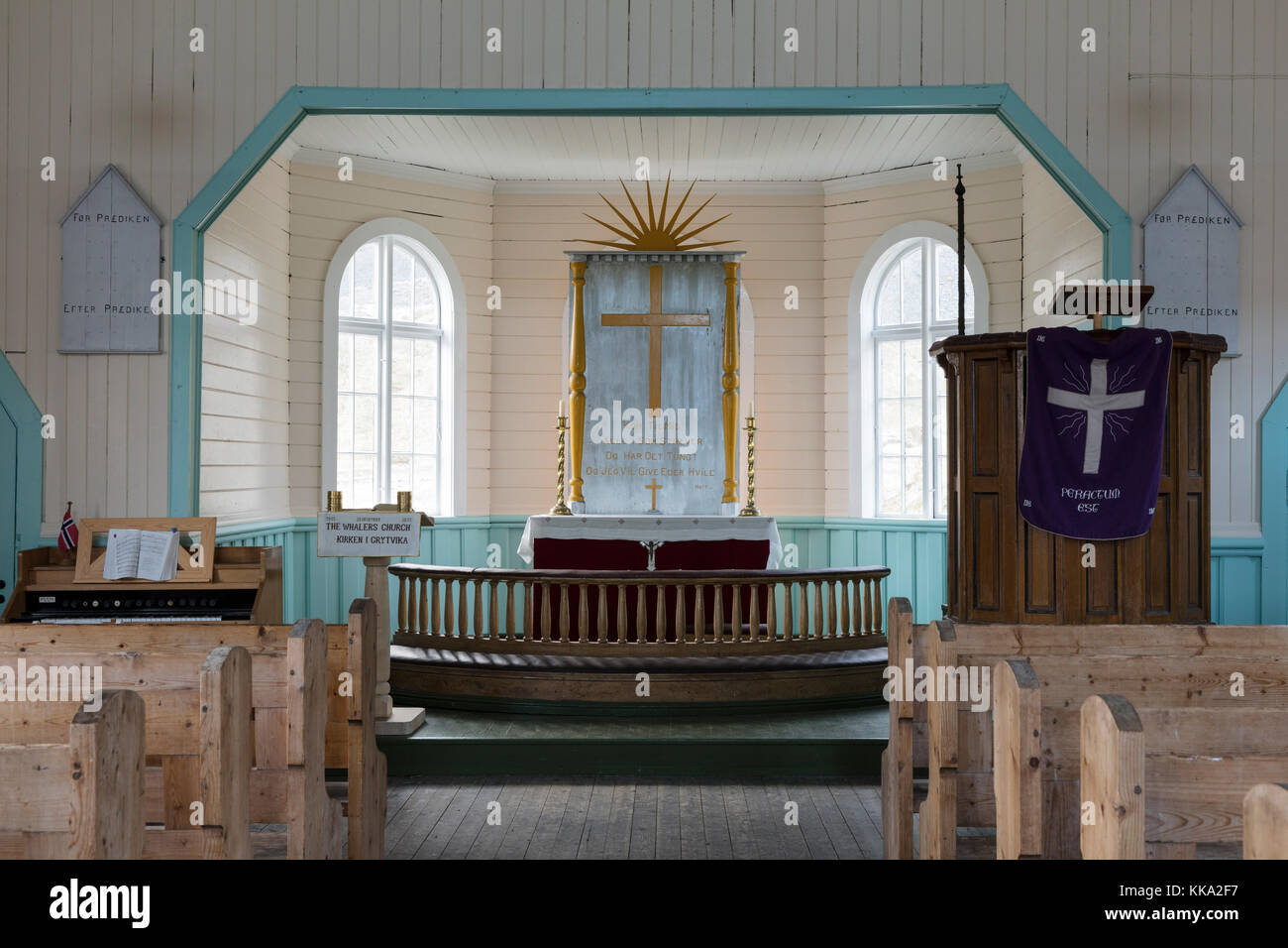Interior of church at the Grytviken whaling station, South Georgia Island Stock Photo