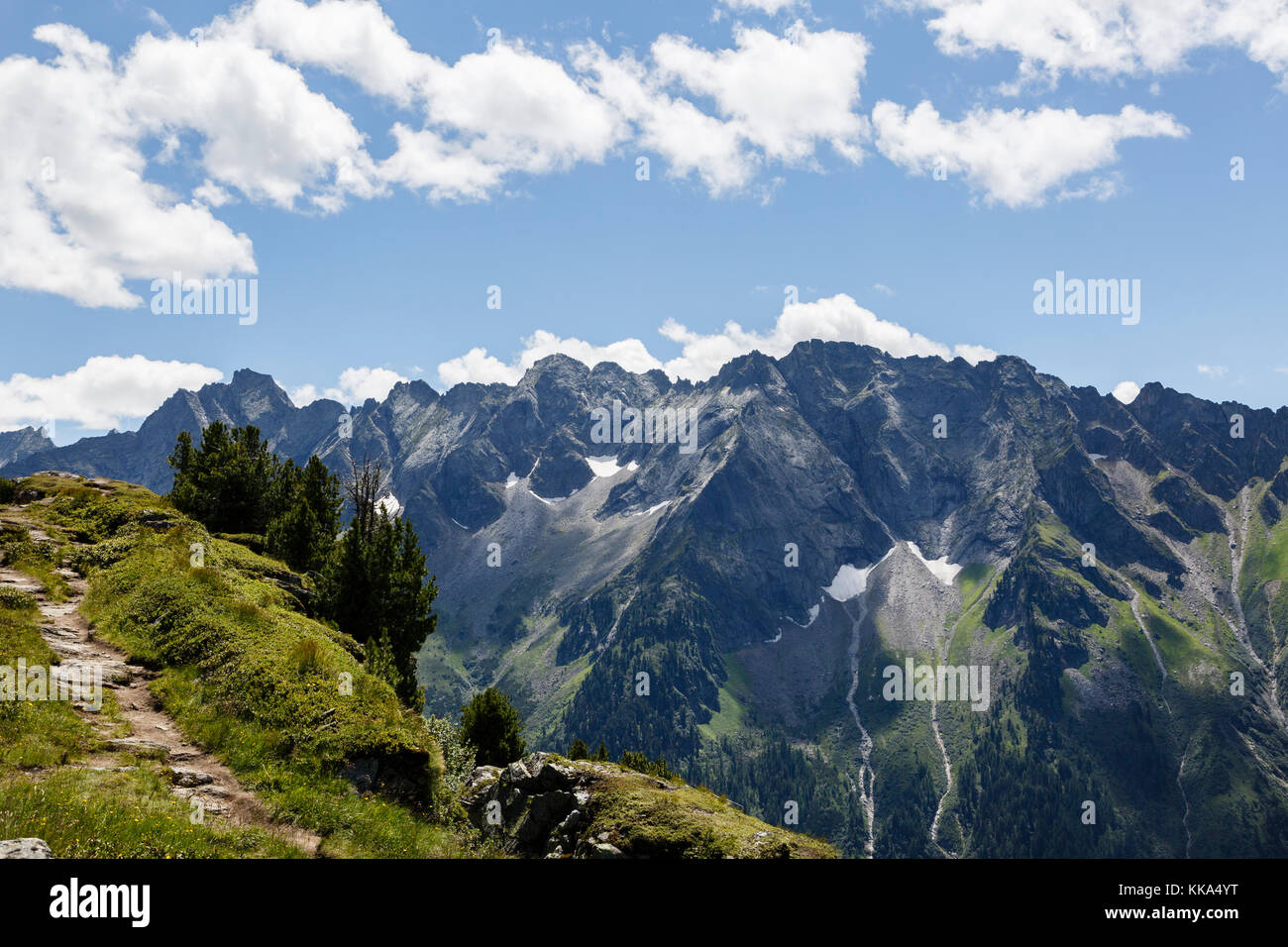 View from the Ahorn Mountain, Mayrhofen, Austria - Stock Image