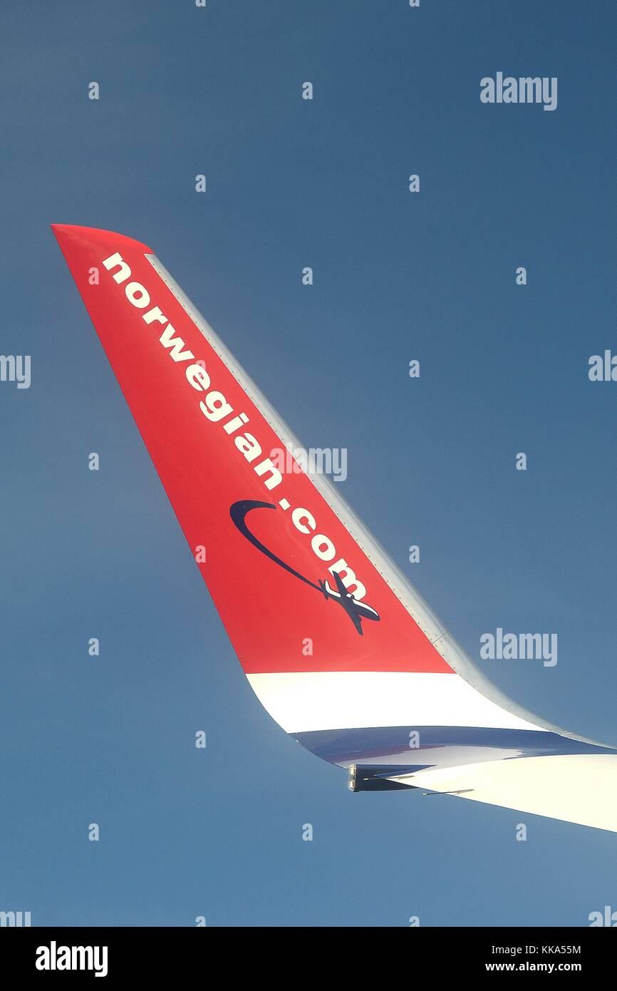 WINGLET ON BOEING 737-800(W) OF NORWEGIAN.COM - Stock Image