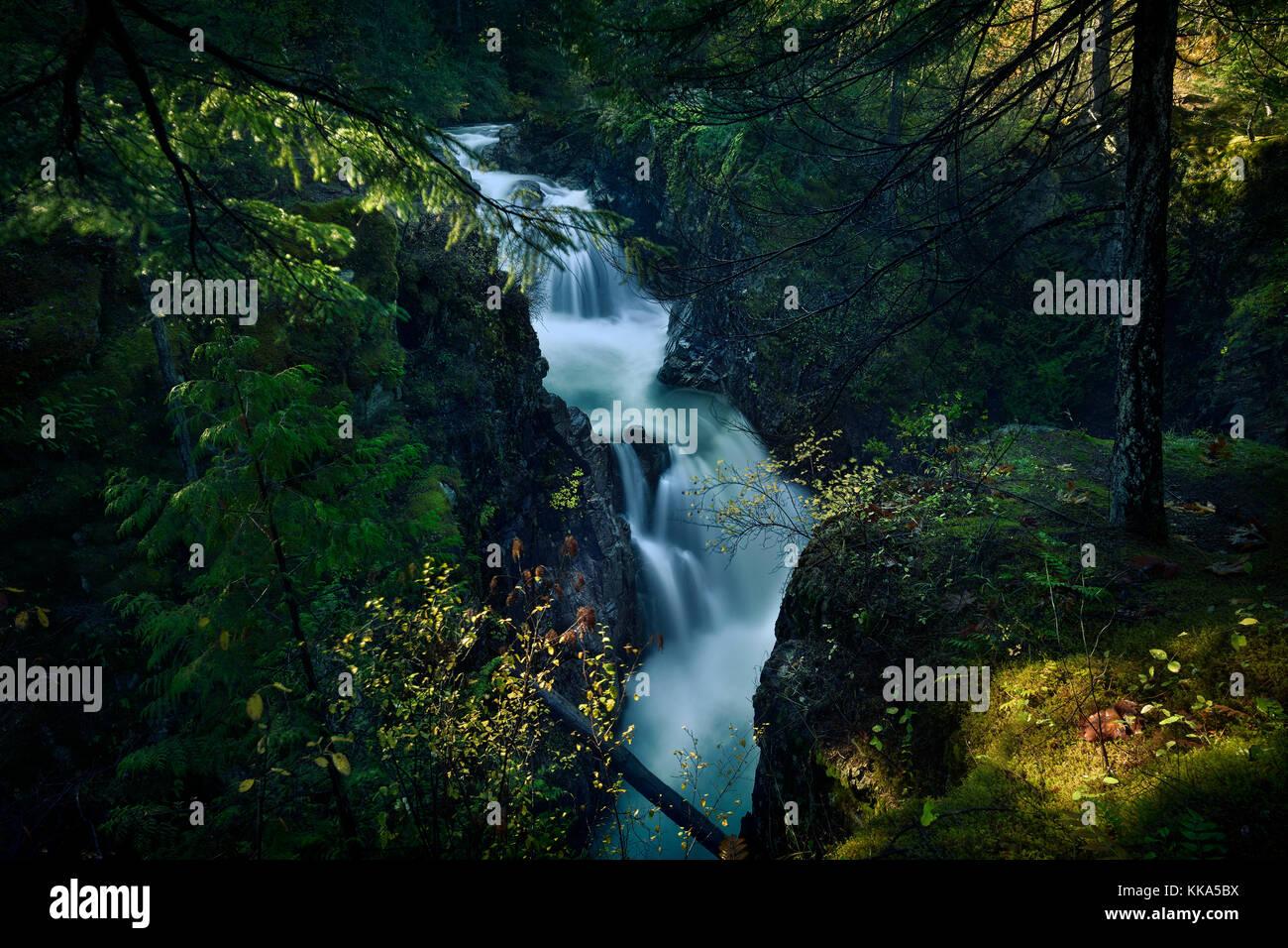 Little Qualicum Falls Provincial Park beautiful cascade waterfall autumn nature scenery, Little Qualicum River, Stock Photo