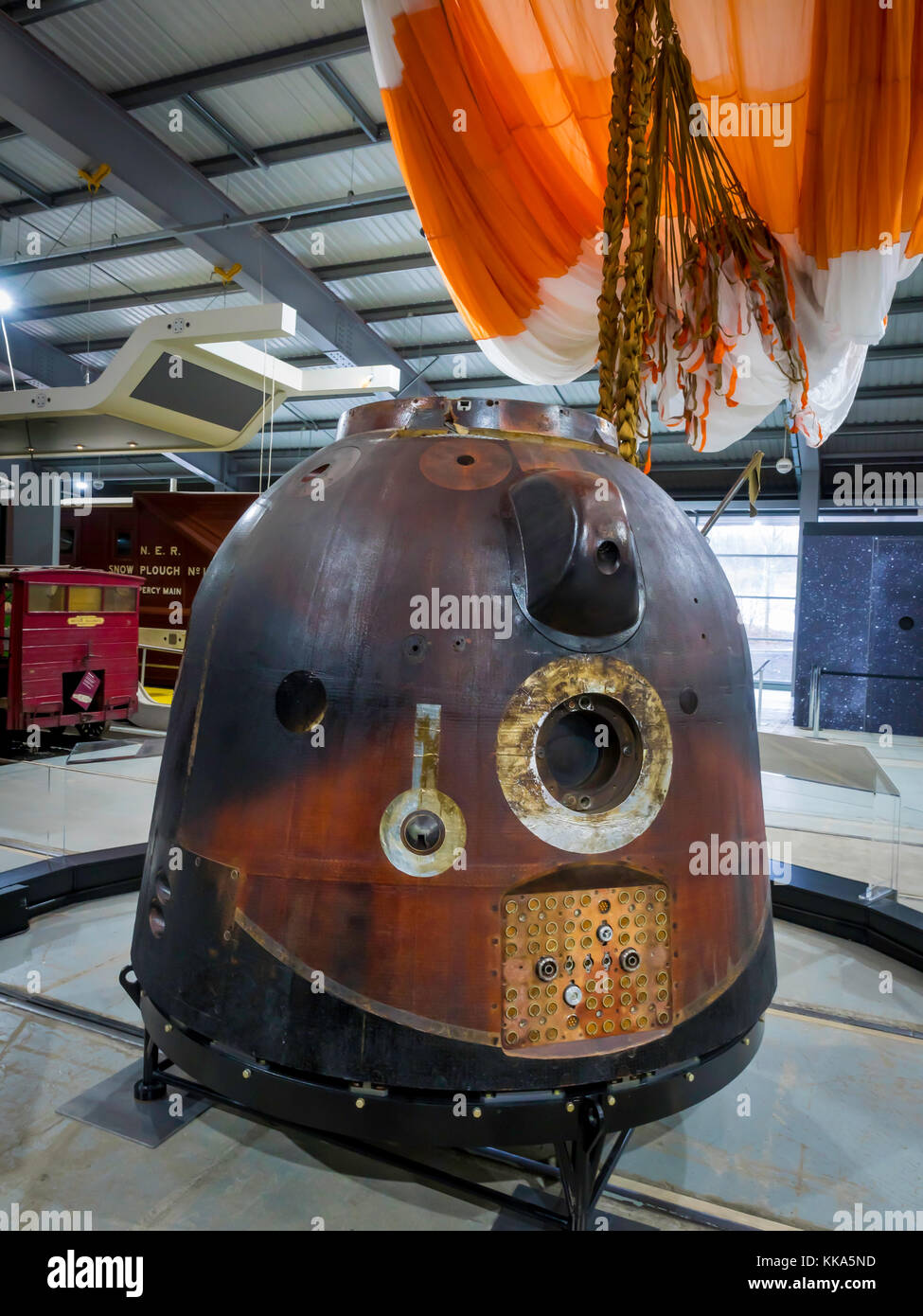 Soyuz Descent Module TMA-19M which brought  Astronaut Major Tim Peake down from International Space Station 2016, Stock Photo