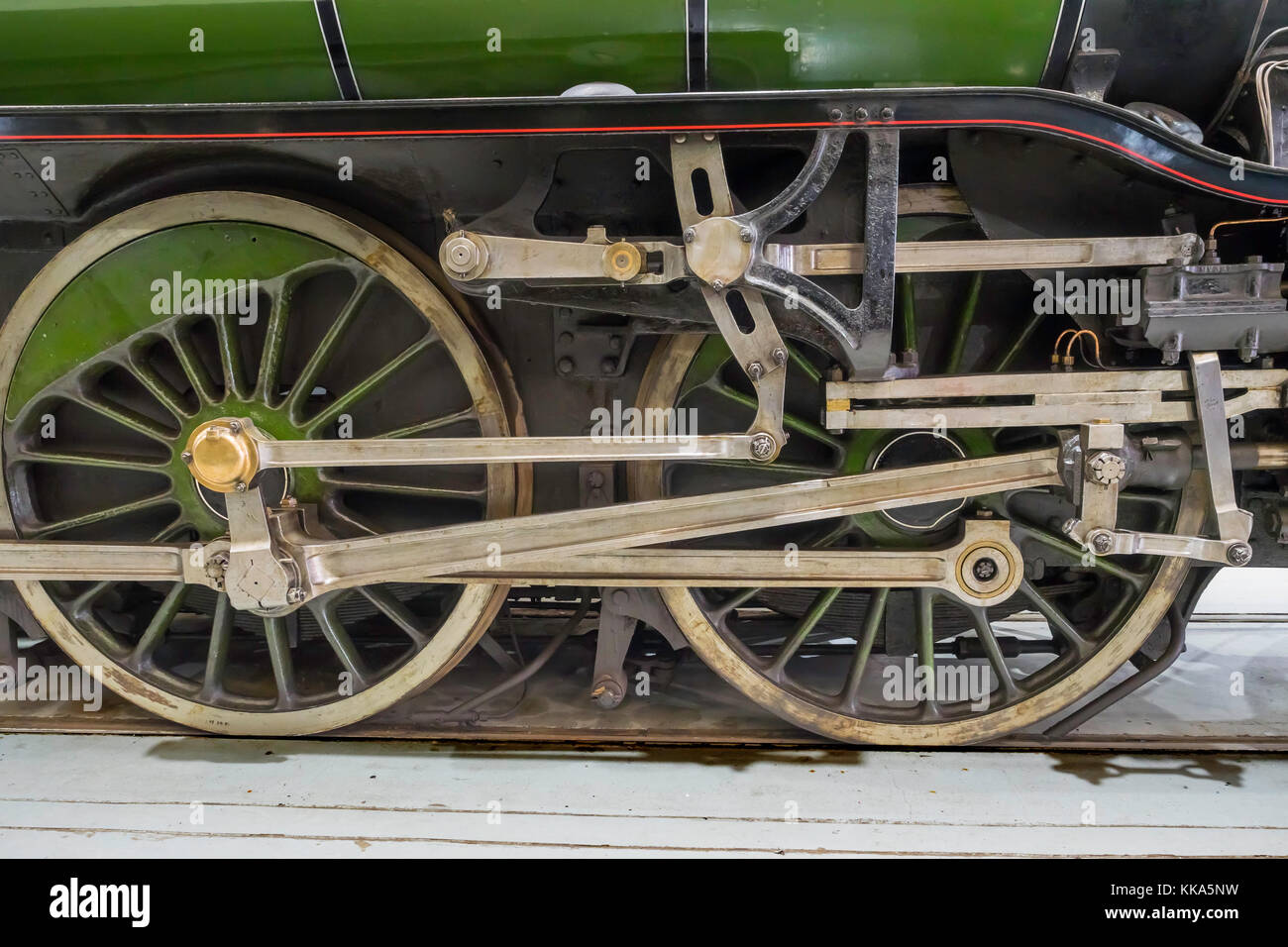 Detail of valve gear on ex-LNER V2 class steam locomotive engine Green Arrow on display at the NRM Shildon UK - Stock Image